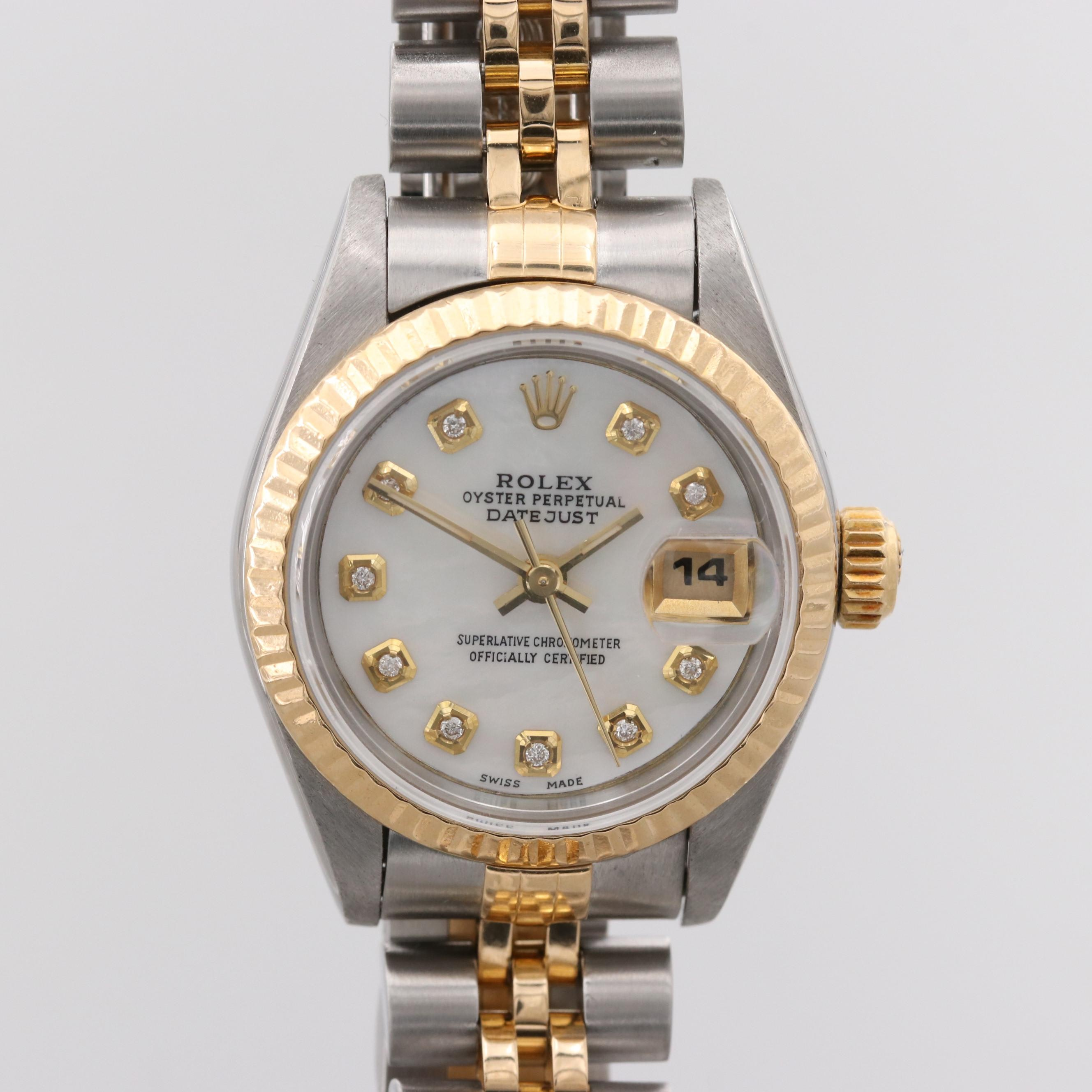 Vintage Rolex Datejust Wristwatch With Mother of Pearl and Diamond Dial