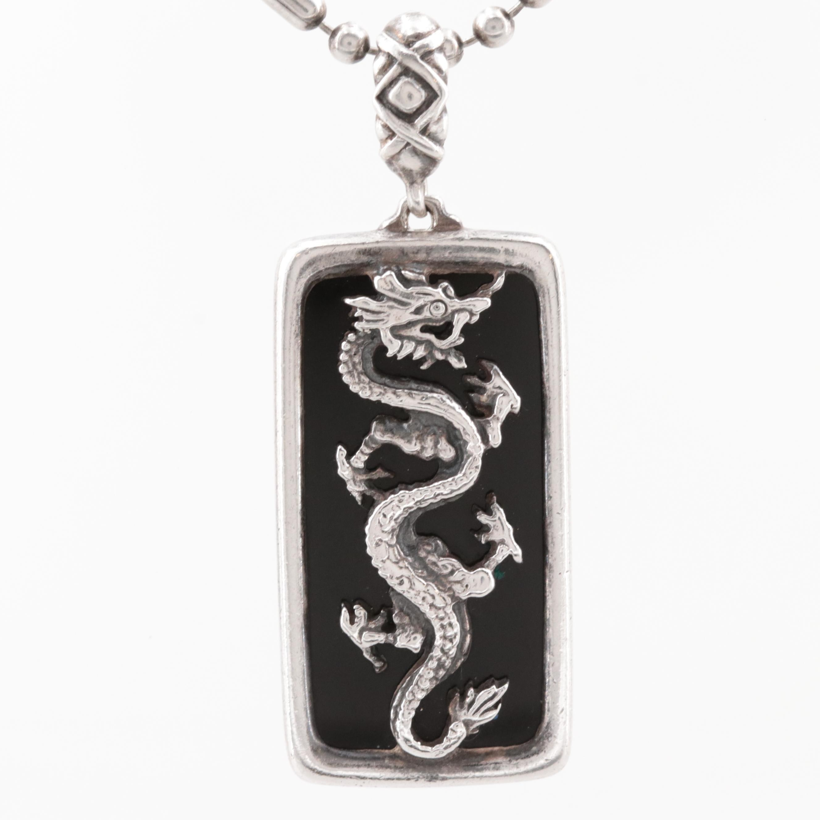 Sterling Silver Black Onyx Dragon Pendant Necklace