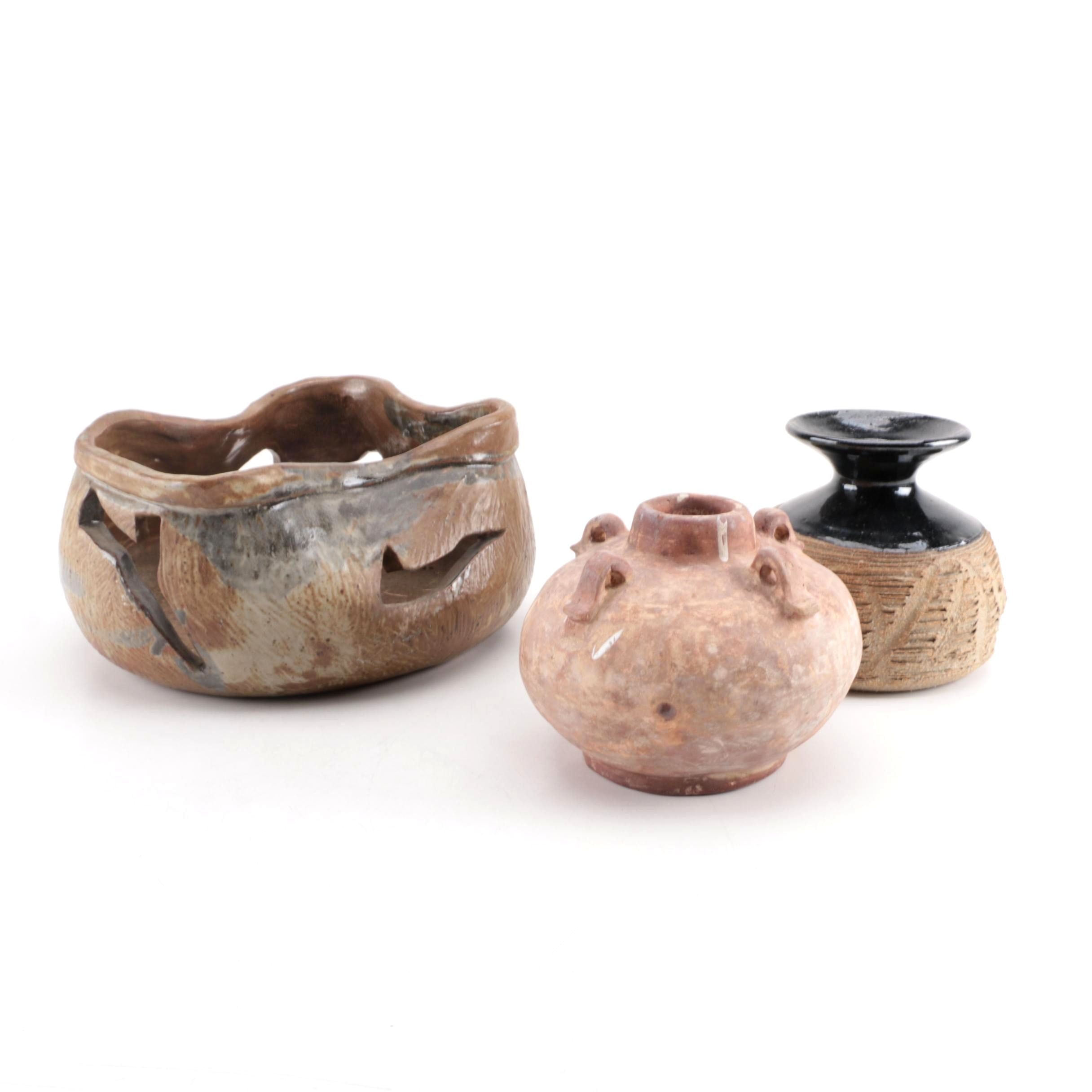 Handbuilt and Thrown Stoneware Vases and Bowl