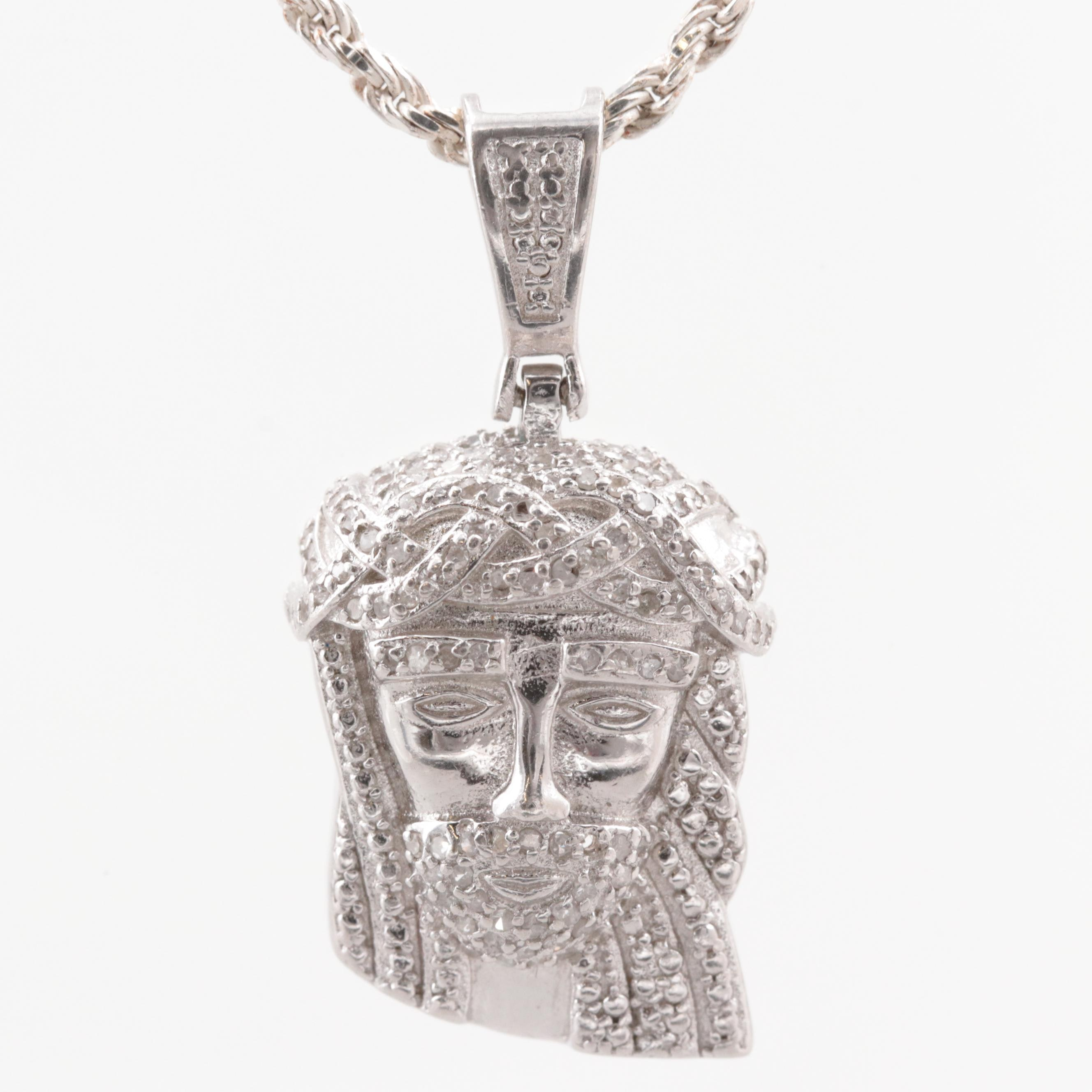 Sterling Silver Diamond Christ Pendant Necklace
