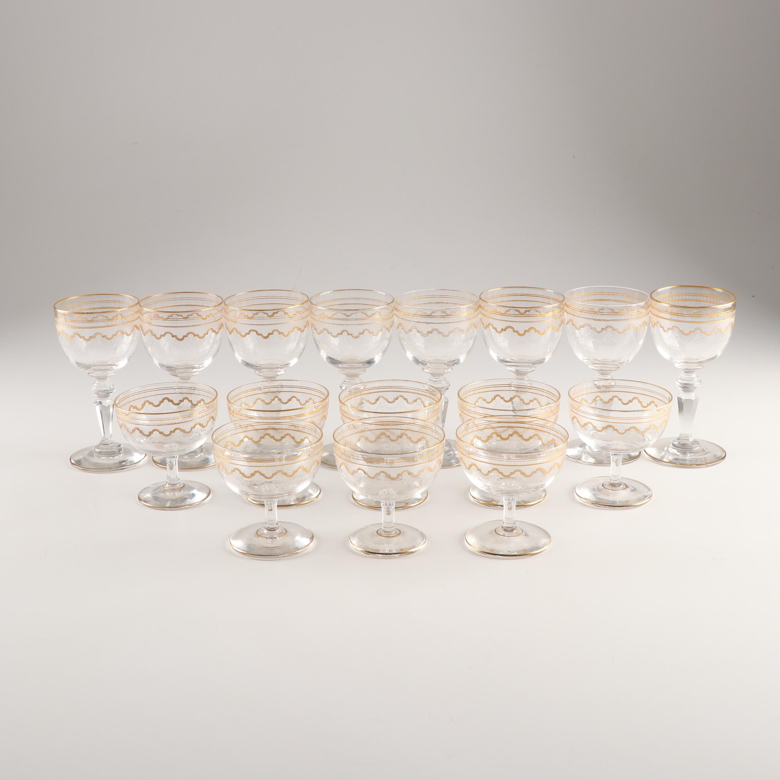 Gilt Detailed Wine Glasses and Champagne Coupes