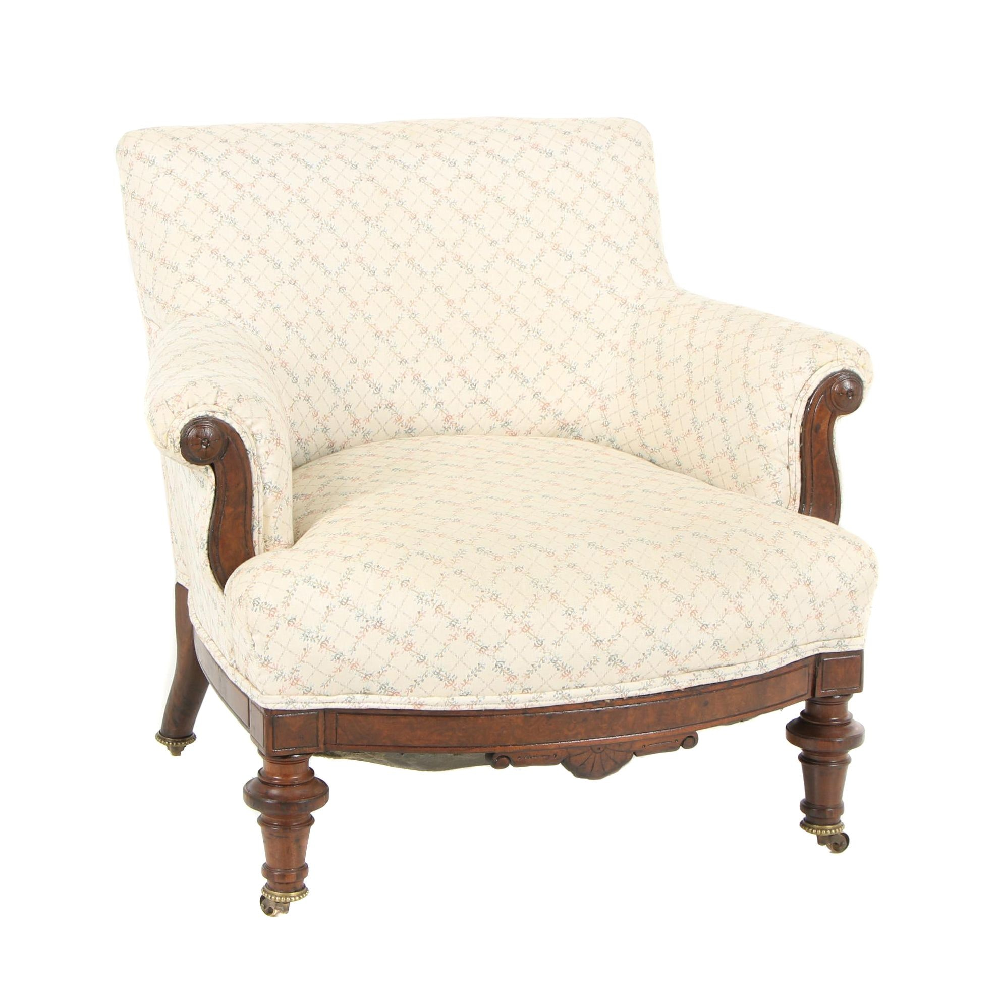 Eastlake Style Walnut Frame Upholstered Armchair on Casters, Late 20th Century