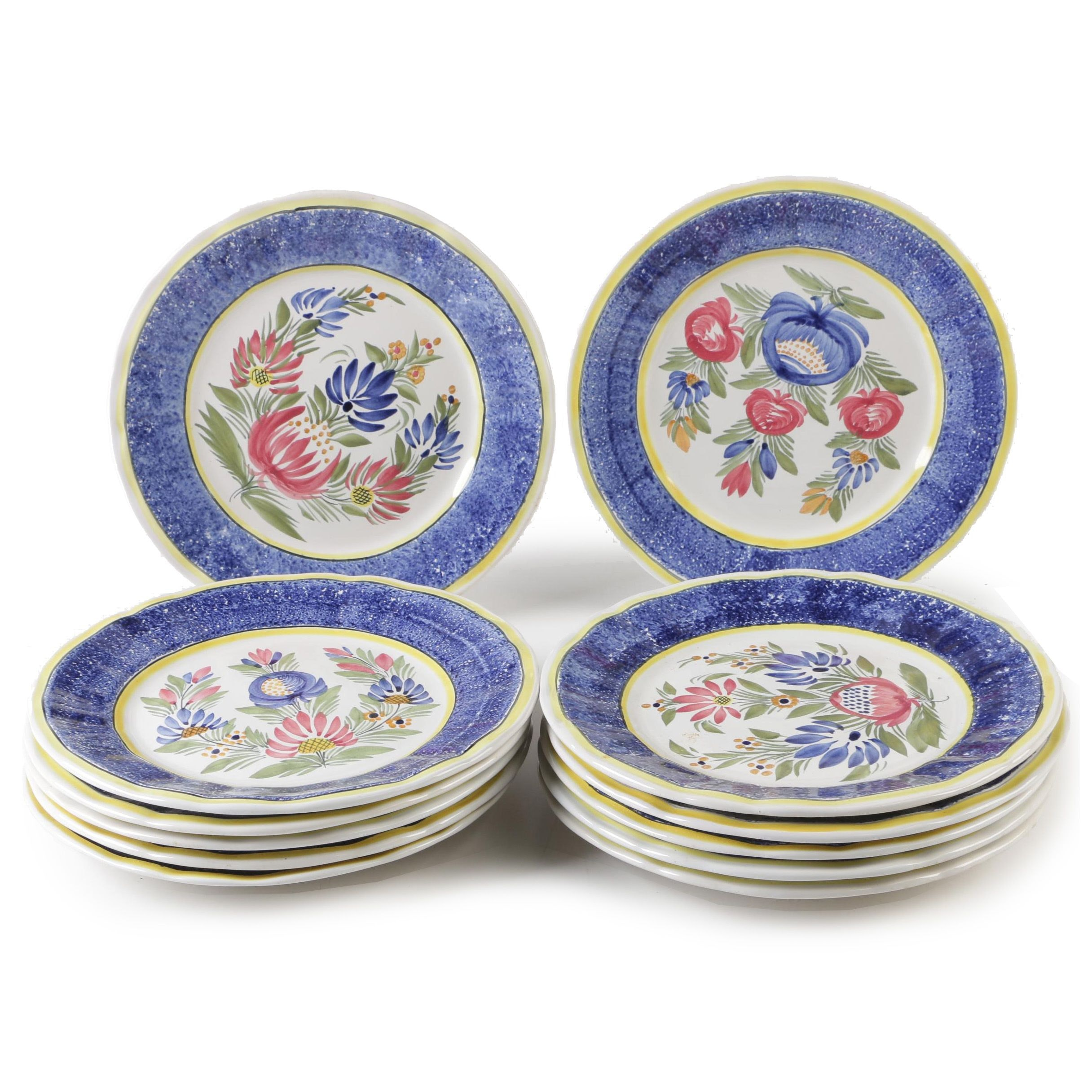 Hand-Painted Quimper Dinner Plates