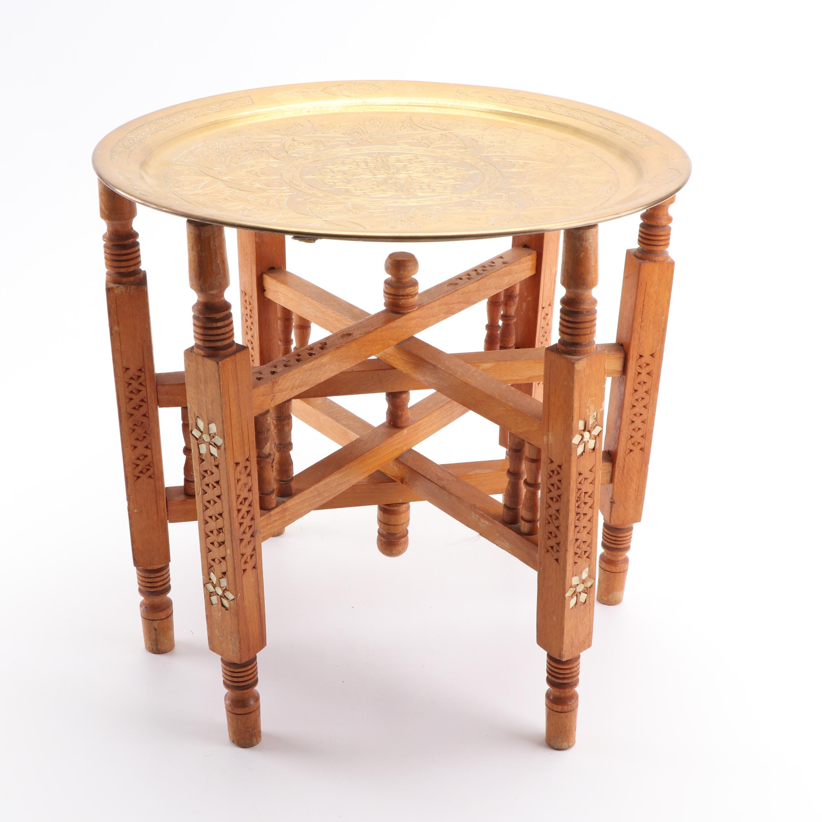 Moroccan Inlay Collapsible Table with Brass Tray Top