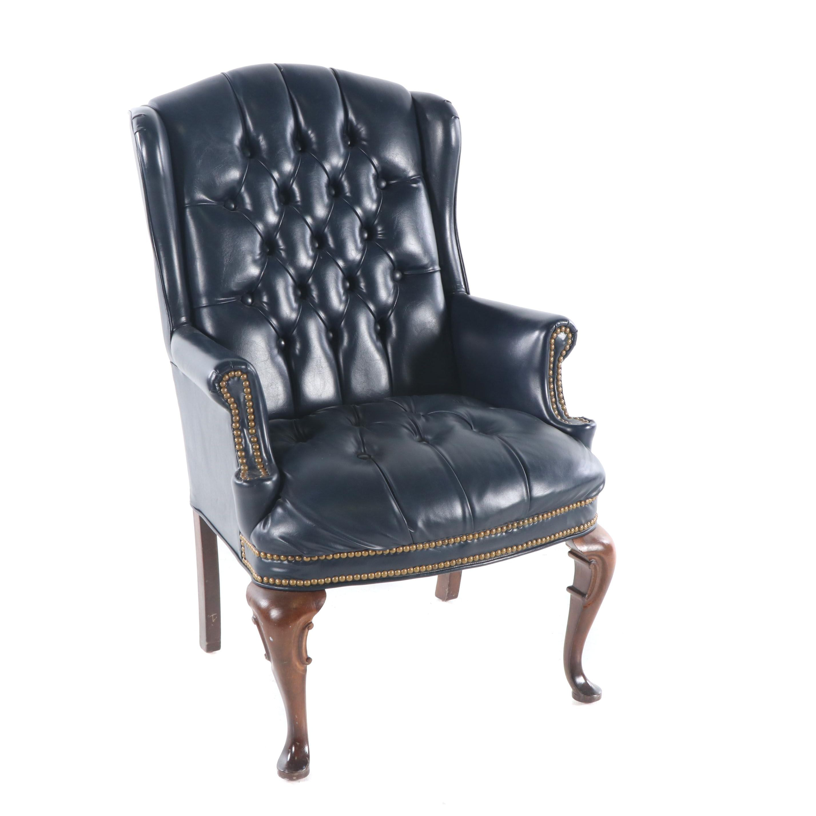 Chesterfield Style Blue Vinyl Wingback Chair