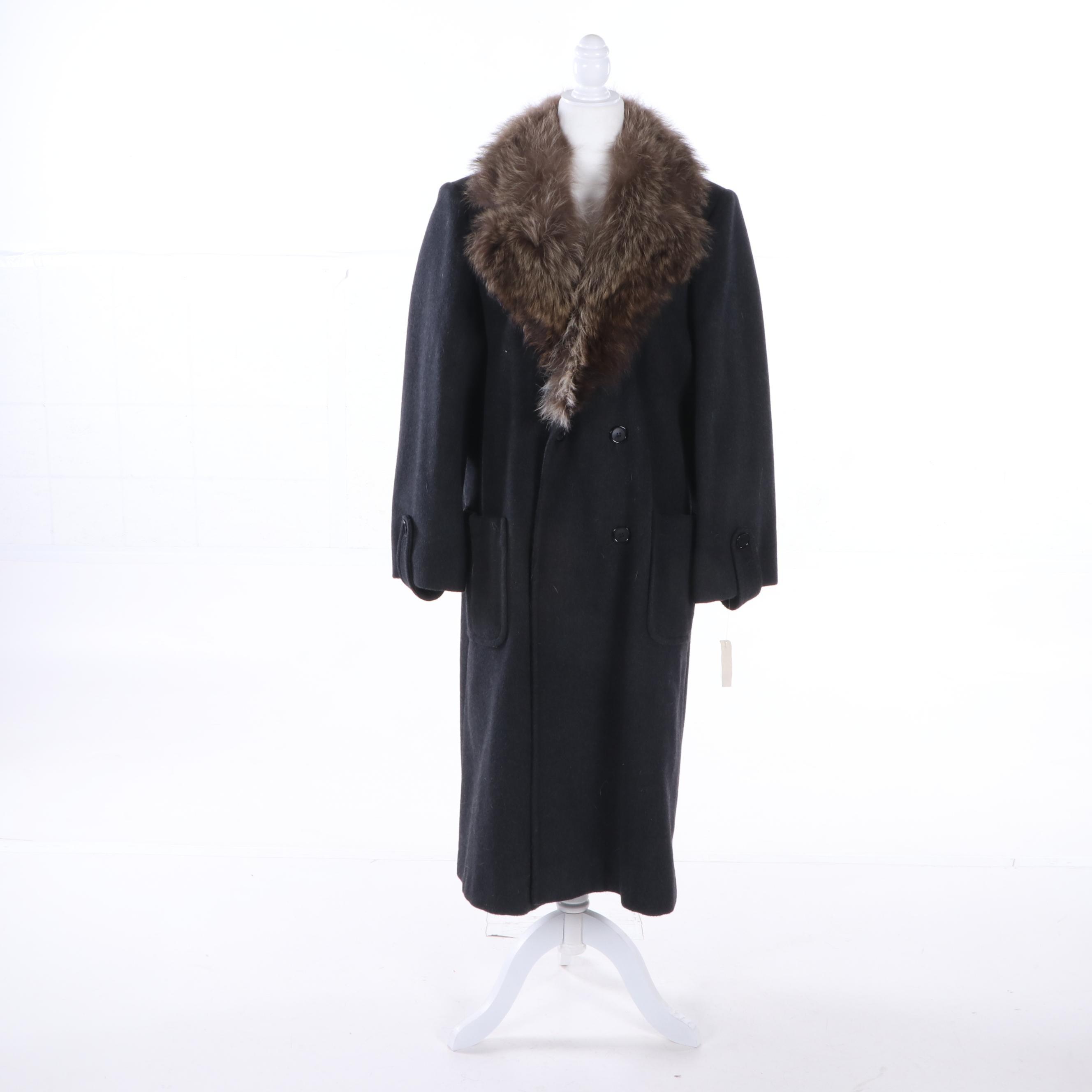 Women's Paul Levy Black Wool Coat with Racoon Fur Collar