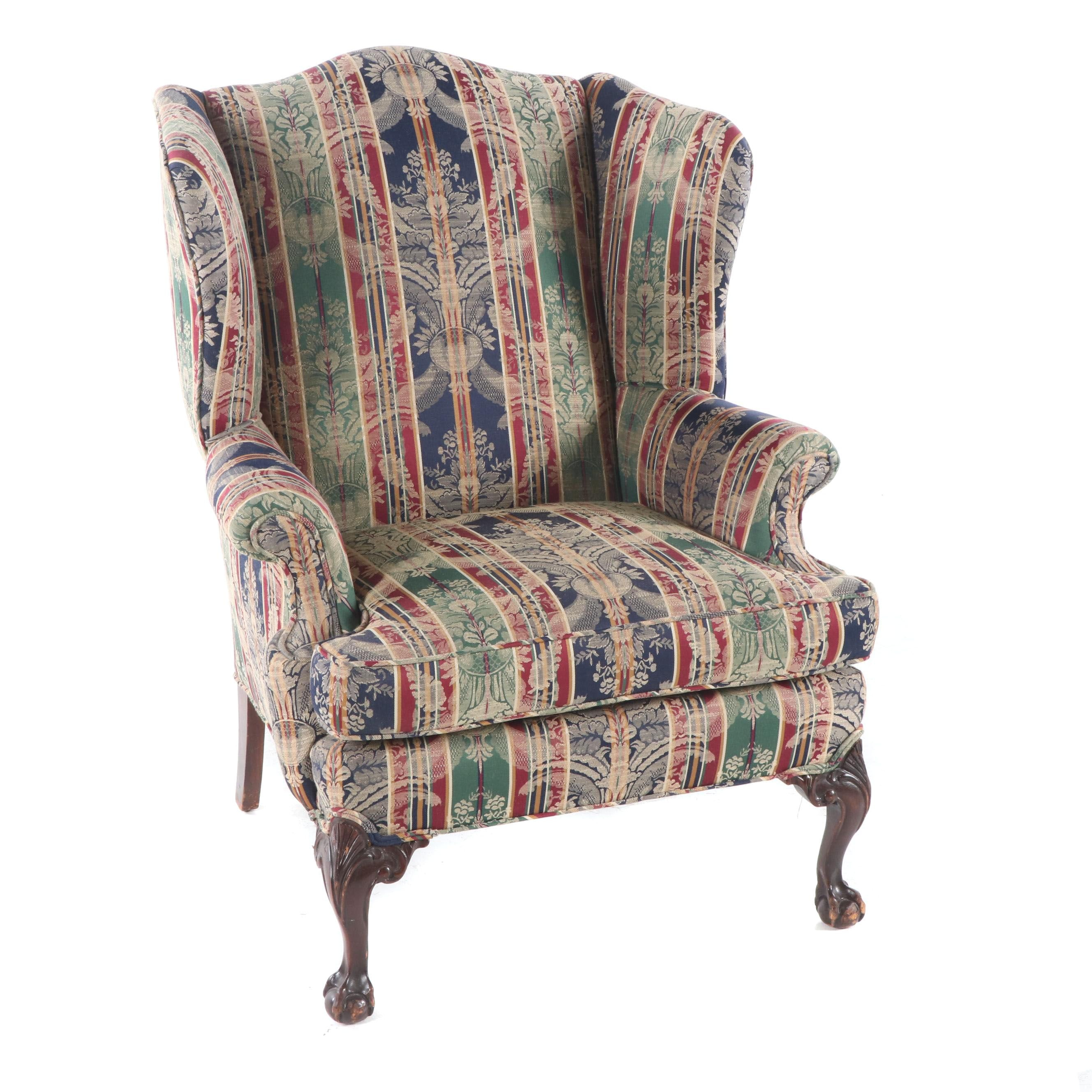 Chippendale Style Upholstered Wingback Chair, by Steve's Upholstery