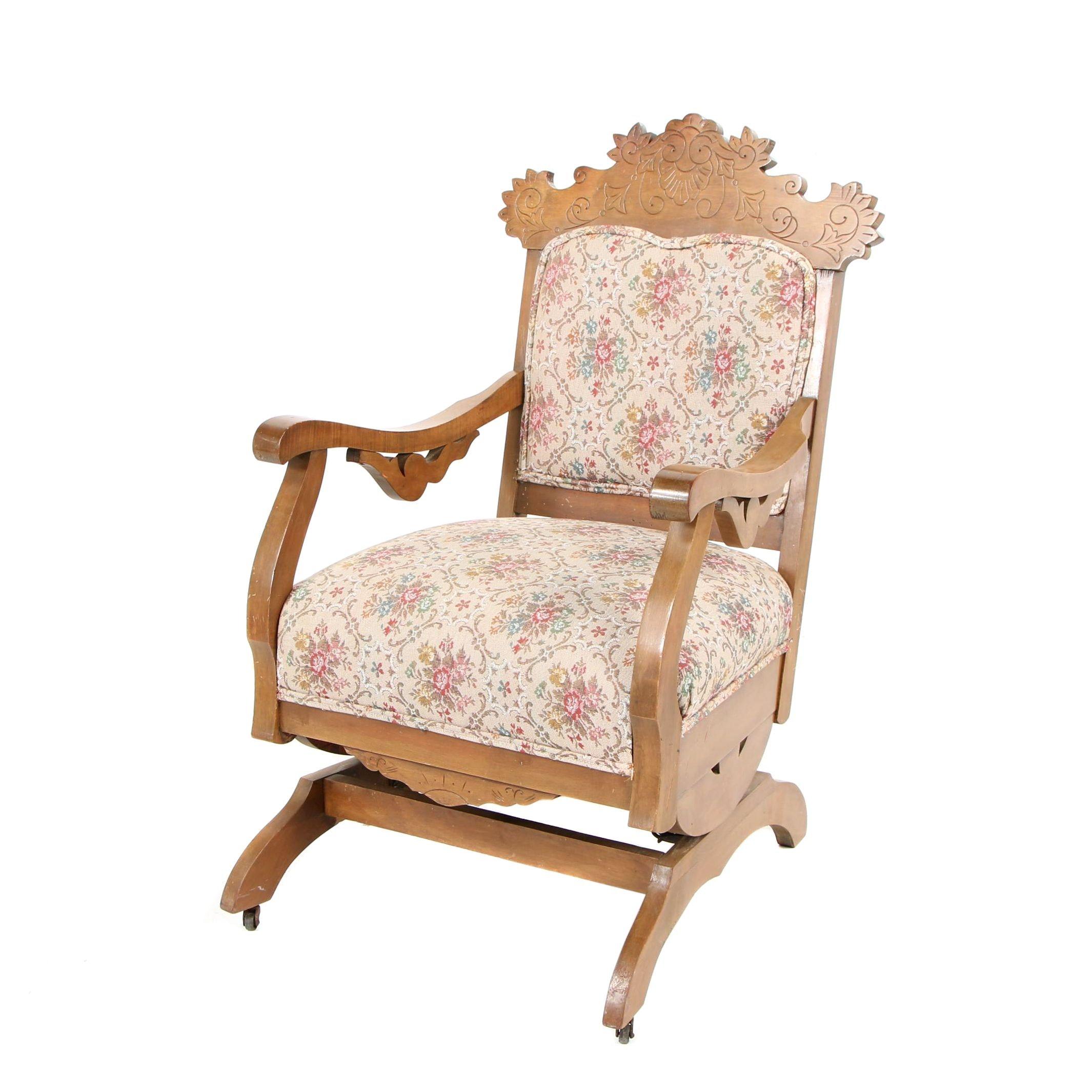 Eastlake Victorian Platform Rocking Chair in Birch, Circa 1900