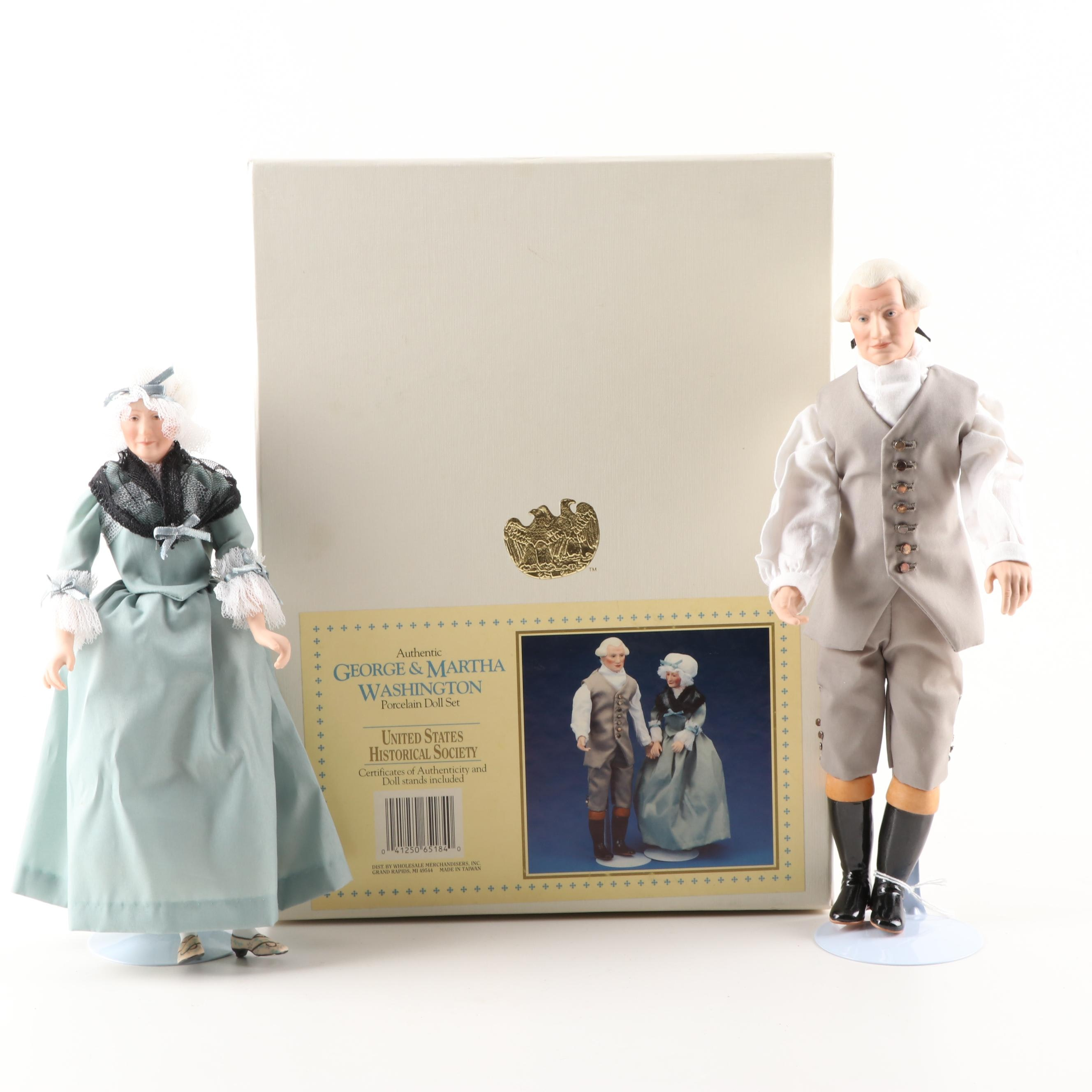 Authentic George & Martha Washington Porcelain Doll Set