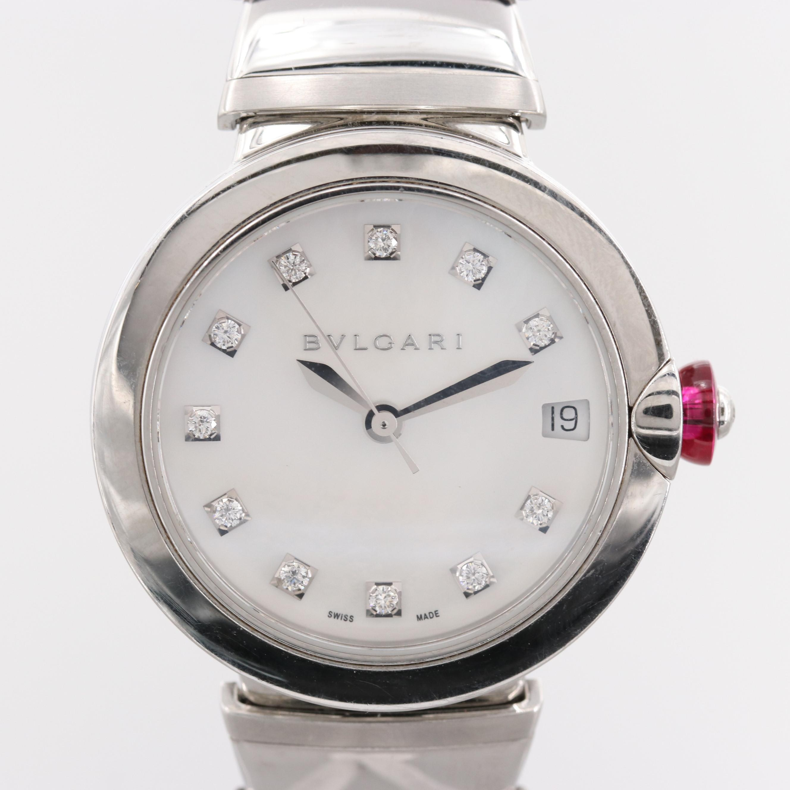 Bulgari LVCEA Wristwatch With White Mother of Pearl and Diamond Dial
