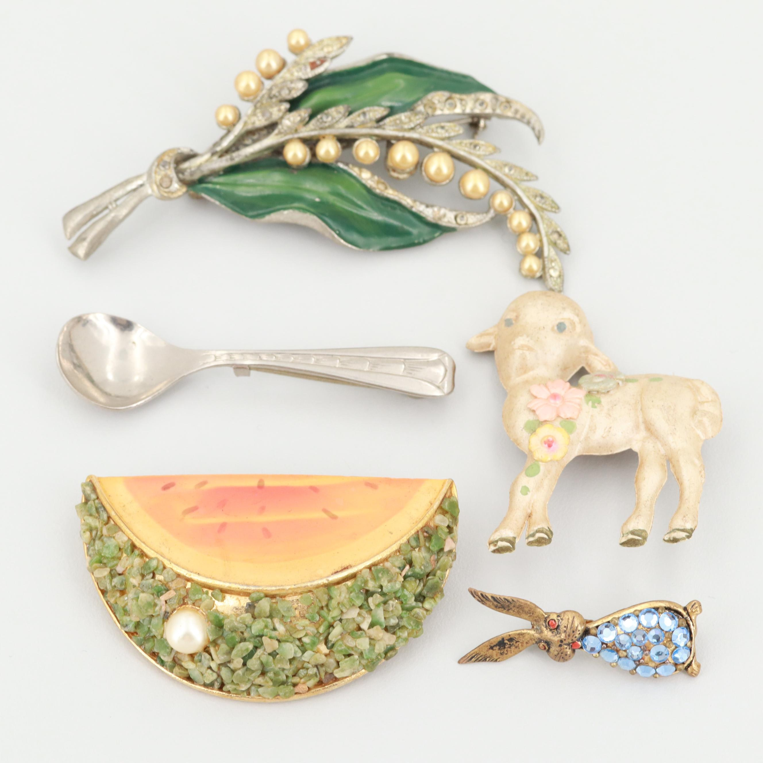 Vintage Gold and Silver-Toned Enamel, Foilbacks and Imitation Pearl Brooches