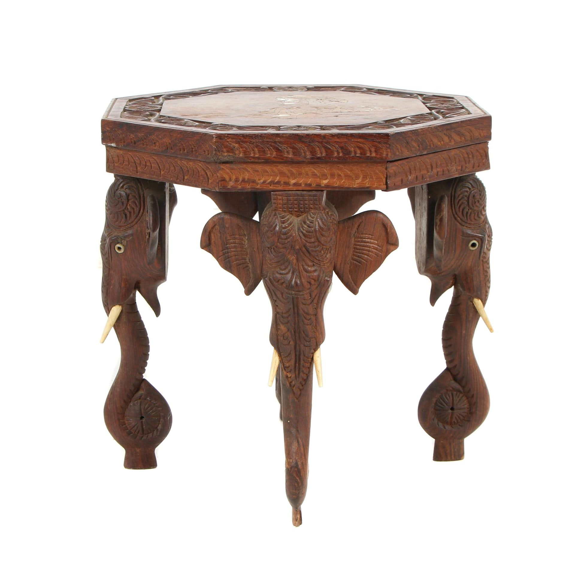 Indian Carved Exotic Hardwood Side Table with Elephant Motif Legs, 20th Century