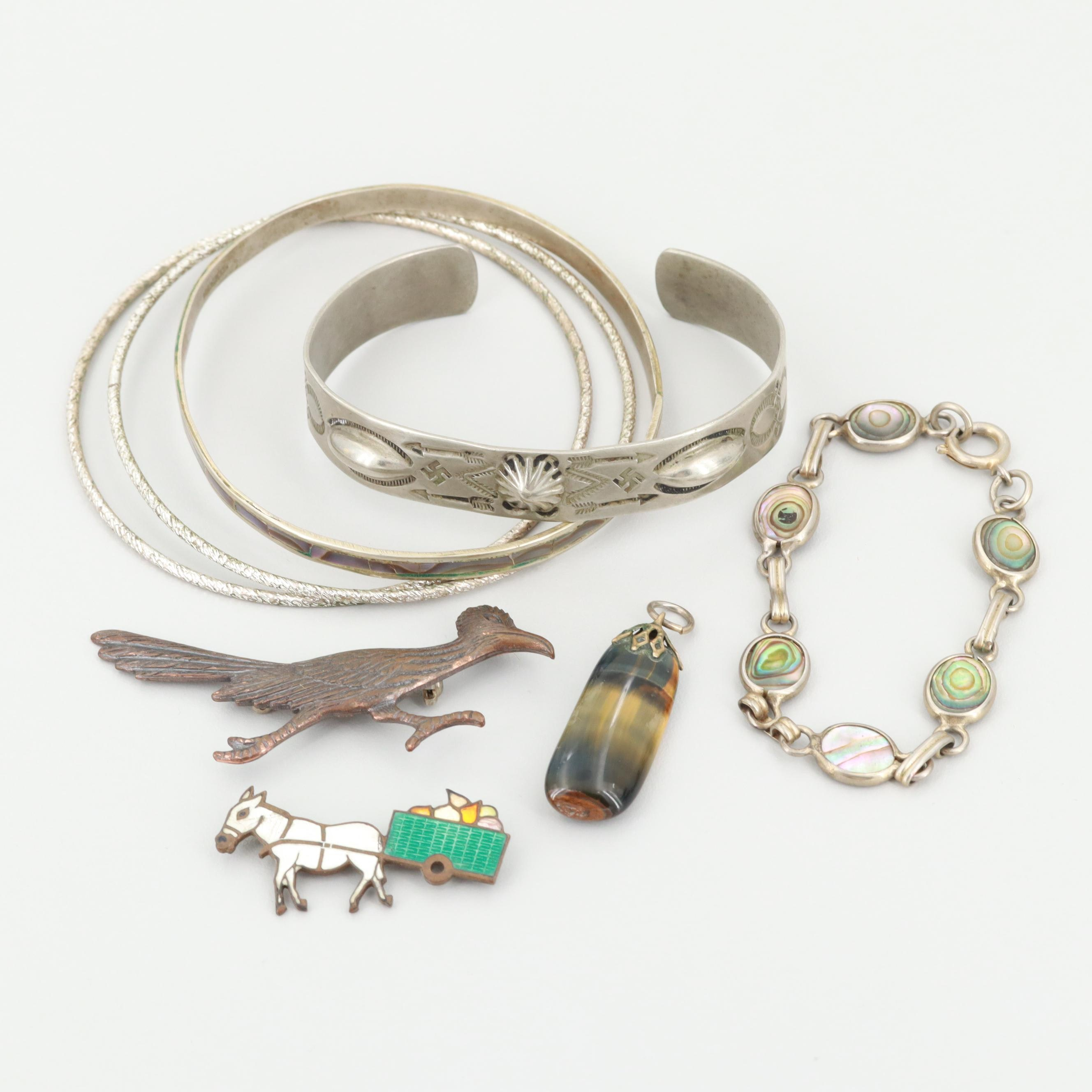 Southwestern Silver-Toned Enamel, Abalone and Tiger Eye Assorted Jewelry