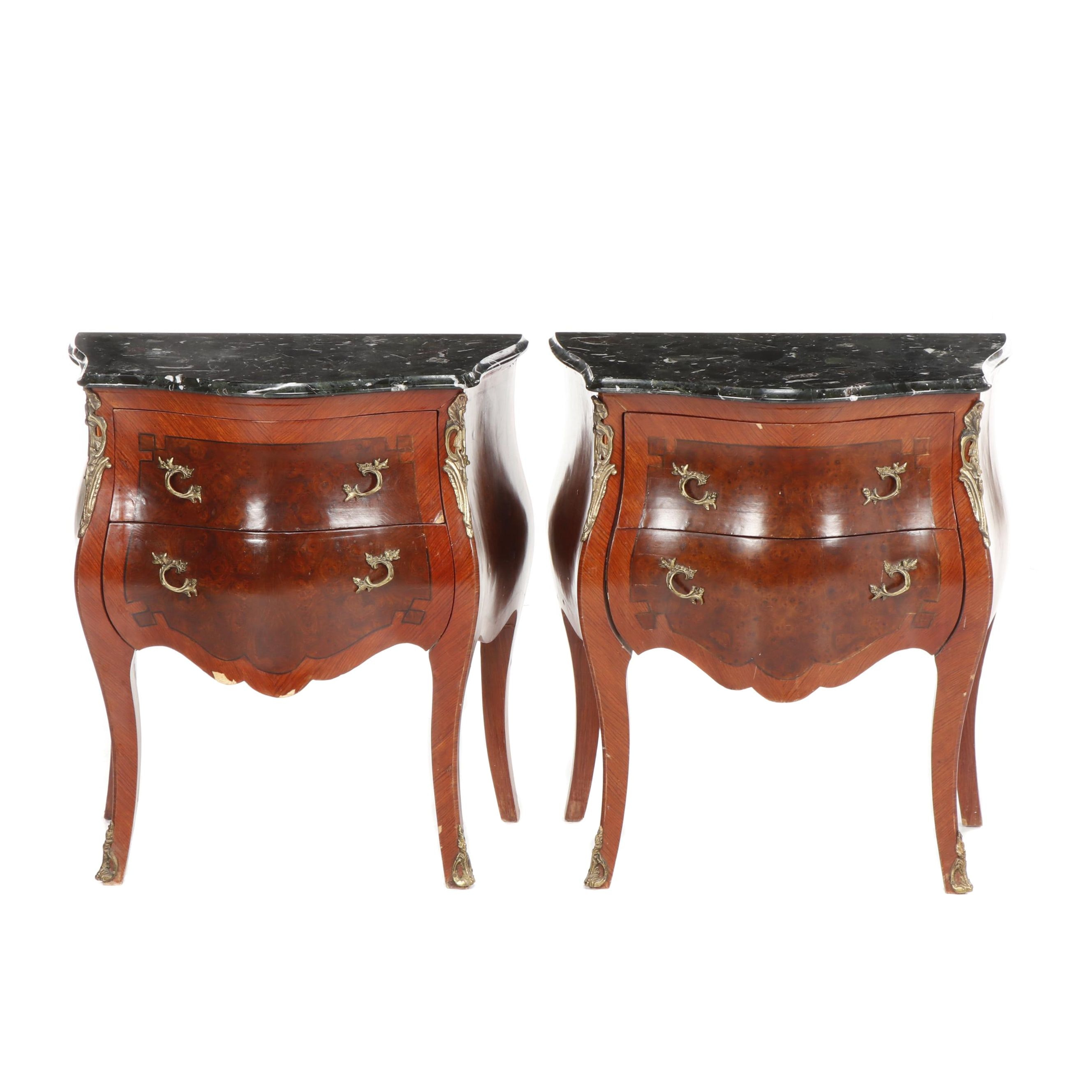 Louis XV Style Bombé Marble Top Mahogany & Walnut Burl Veneered End Tables, 20th