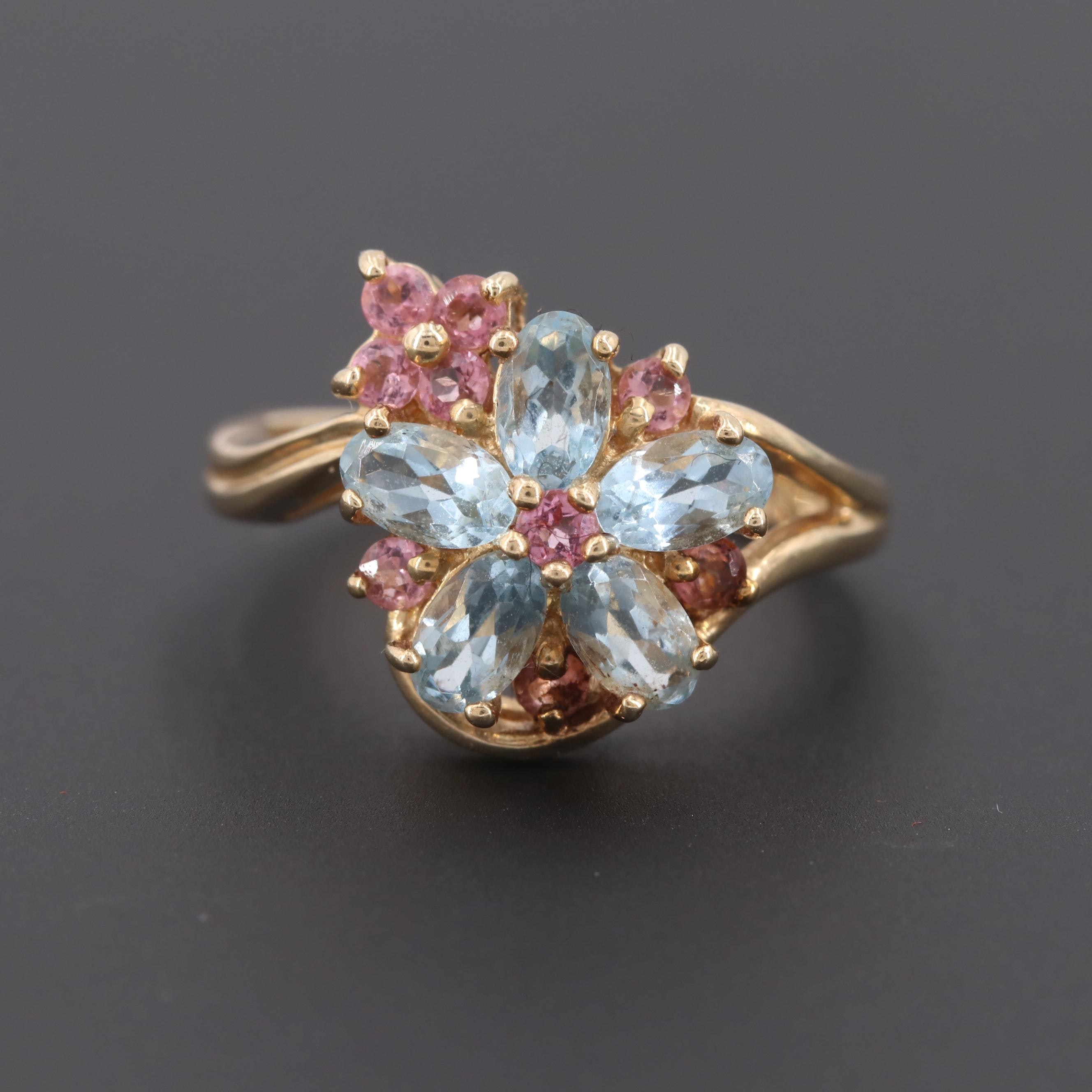 10K Yellow Gold Aquamarine and Pink Tourmaline Ring
