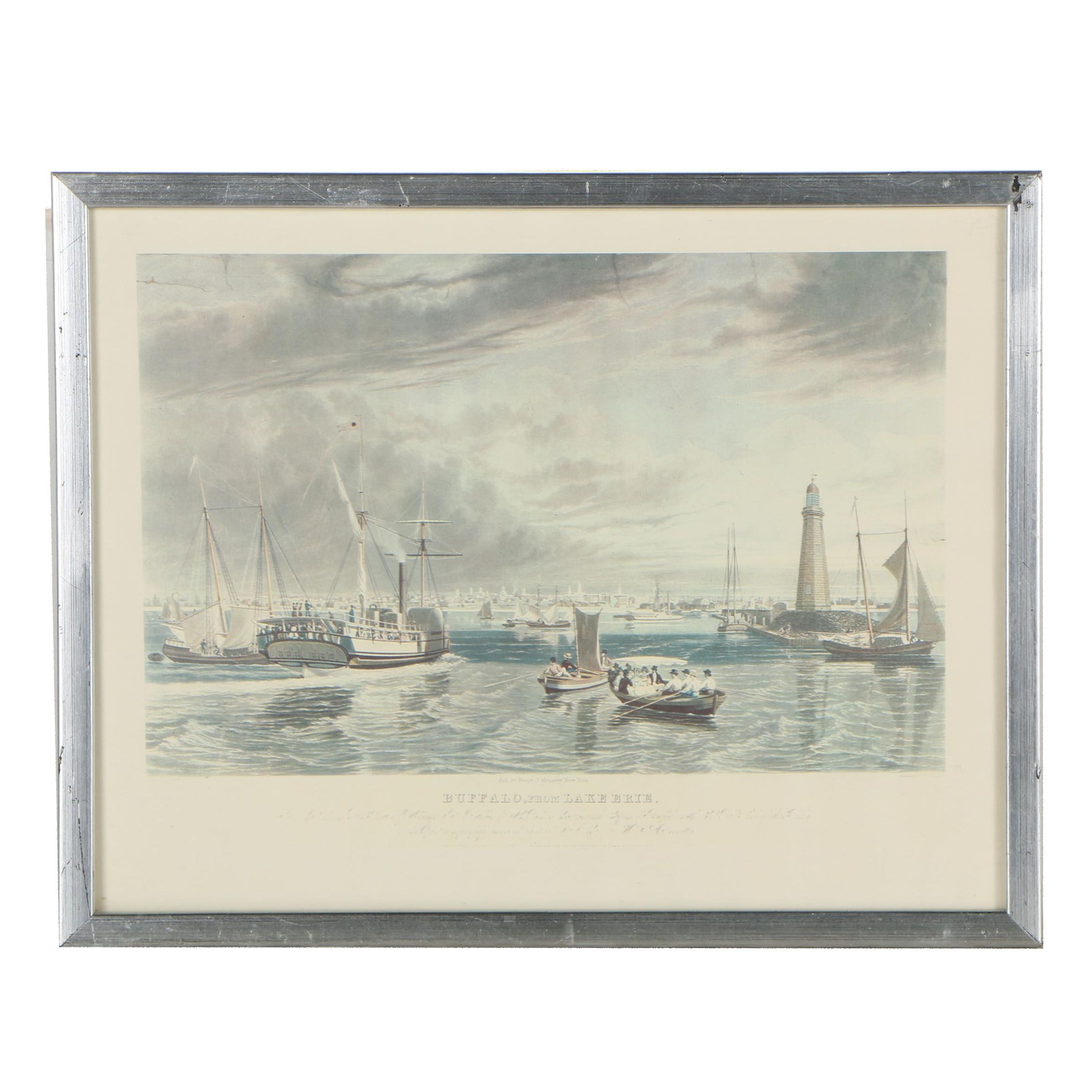 """Offset Lithograph after William J. Bennett """"Buffalo, from Lake Erie"""""""