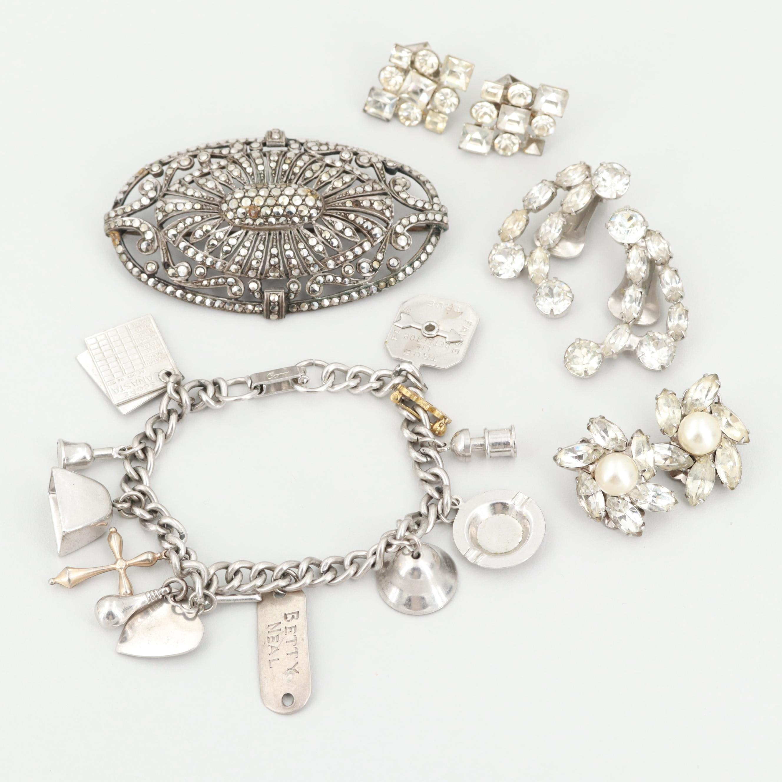 Vintage Silver Tone Glass, Marcasite and Imitation Pearl Jewelry Assortment