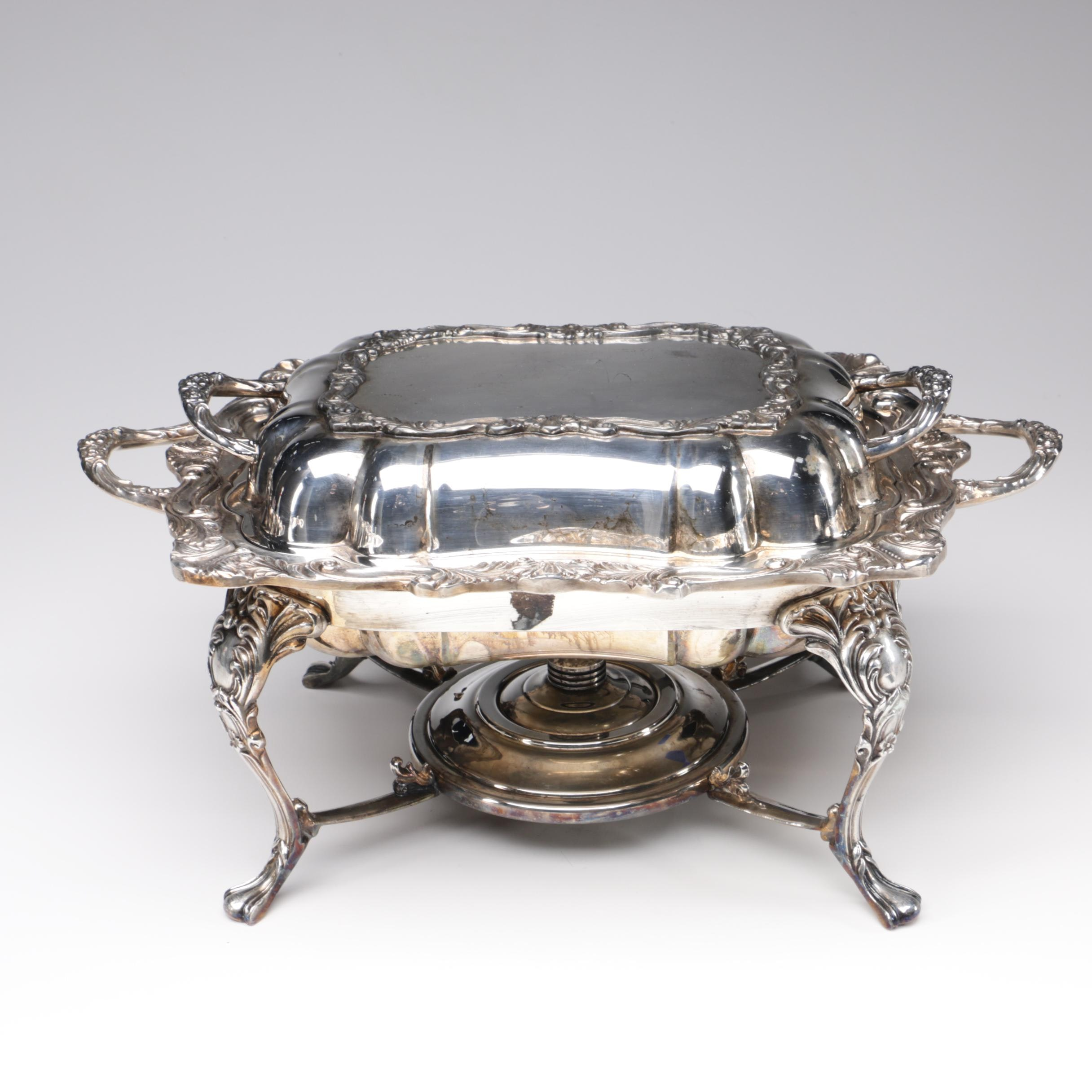 Sheridan Silver Plate Chafing Dish on Warming Stand, Early 20th Century