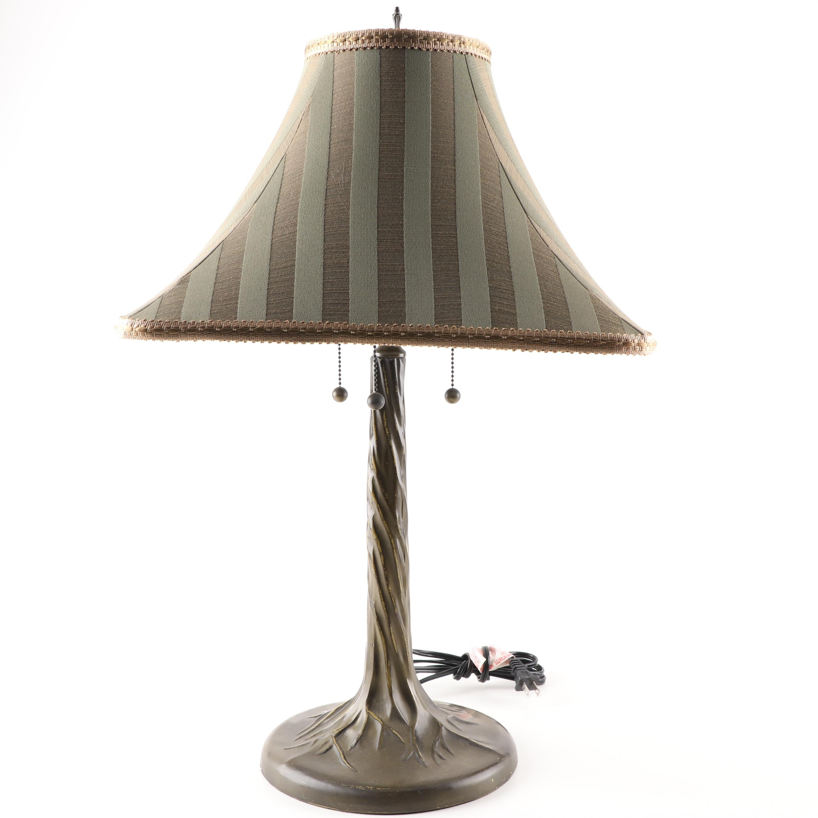 Cast Metal Table Lamp With Striped Shade