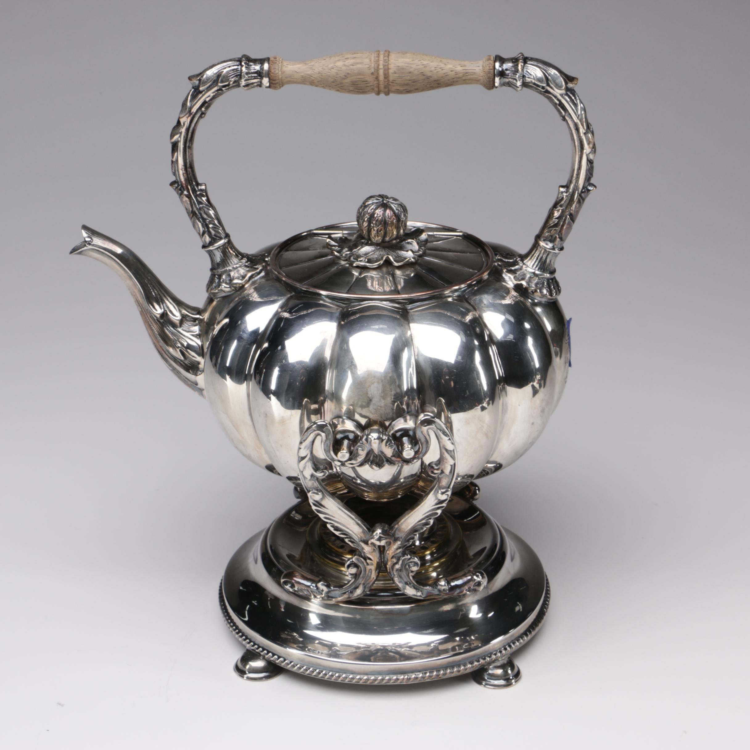"""British Silver Plate """"Gourd"""" Tilting Tea Kettle, Late 19th/Early 20th Century"""