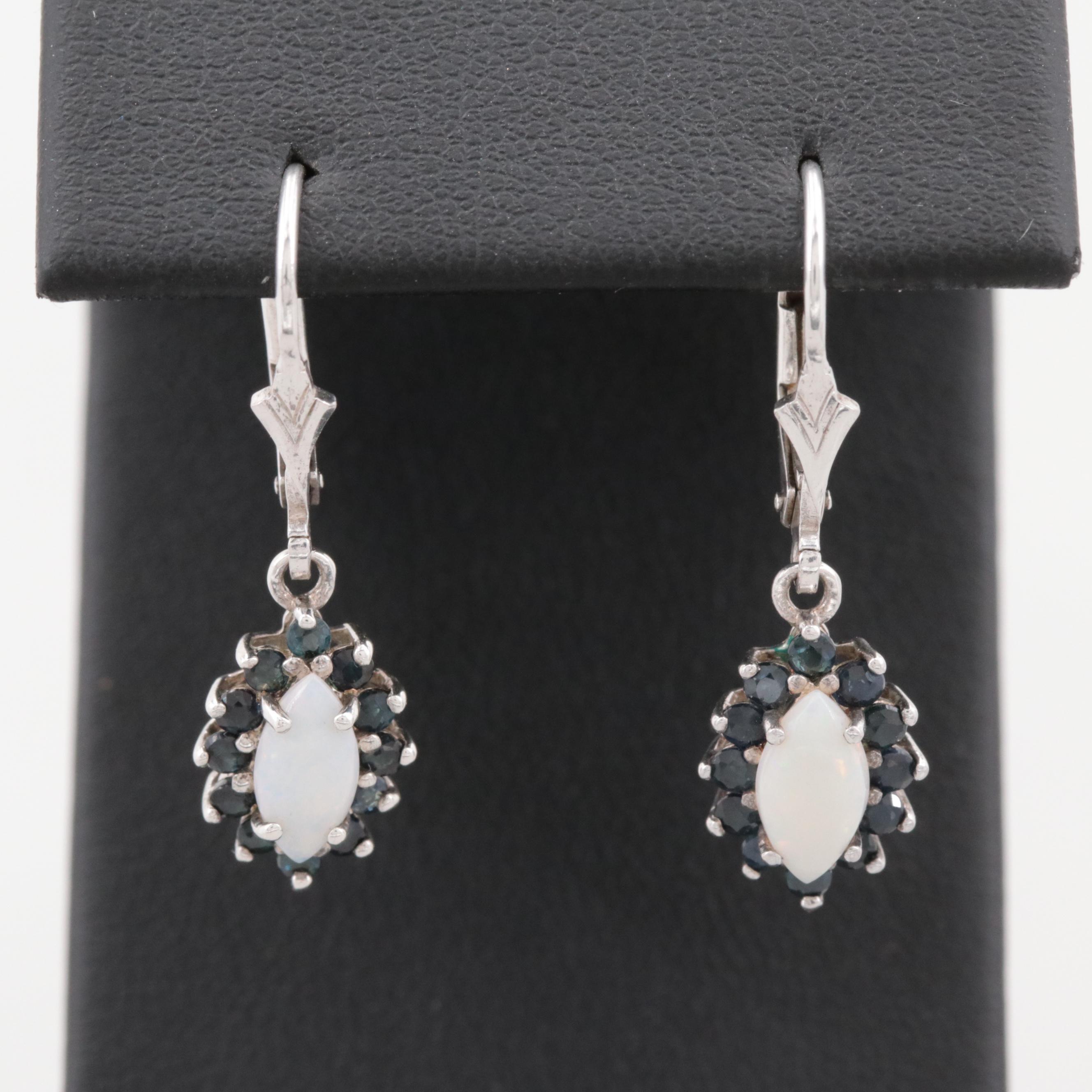 Sterling Silver Opal and Blue Sapphire Dangle Earrings