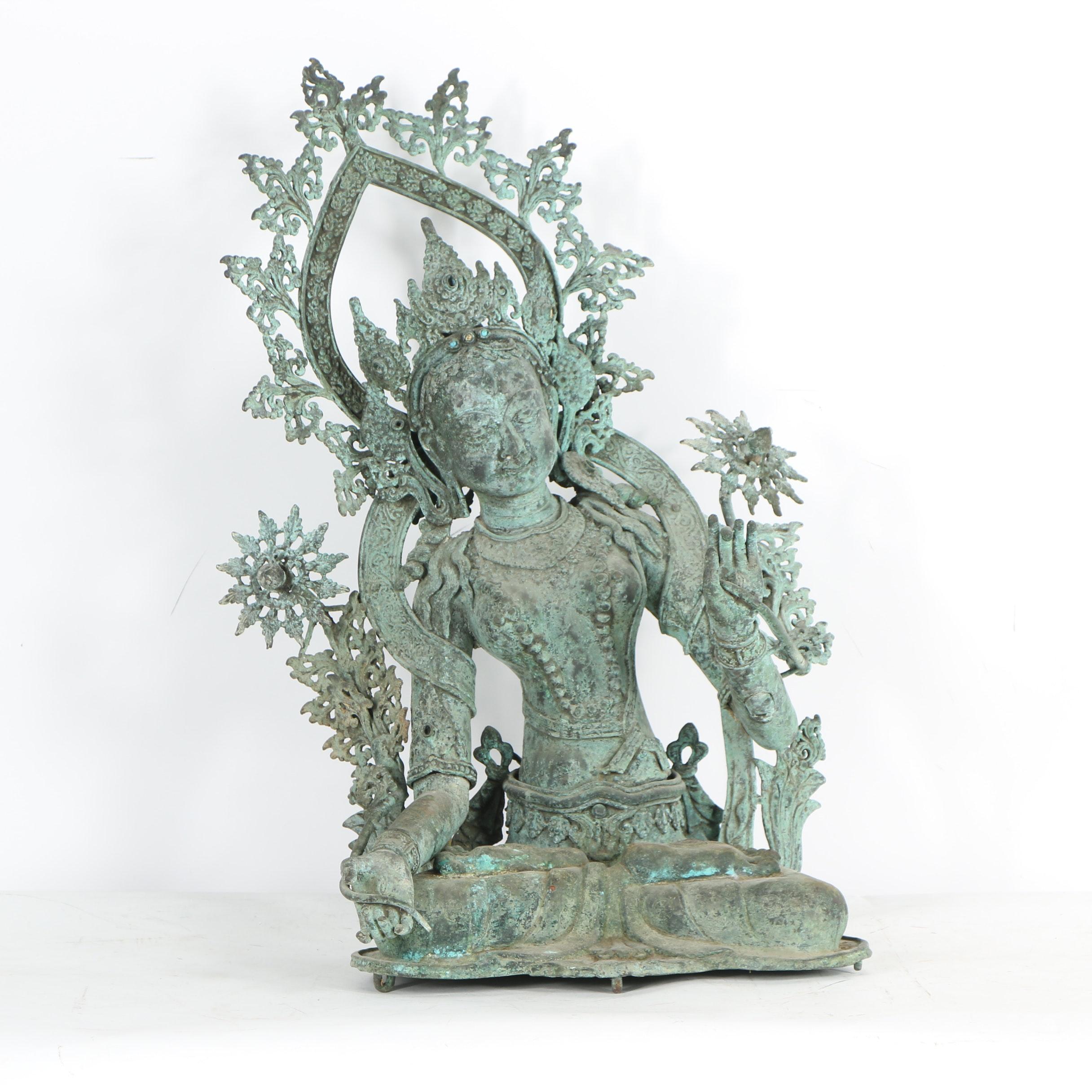 Tibetan Style Cast Metal Tara Sculpture