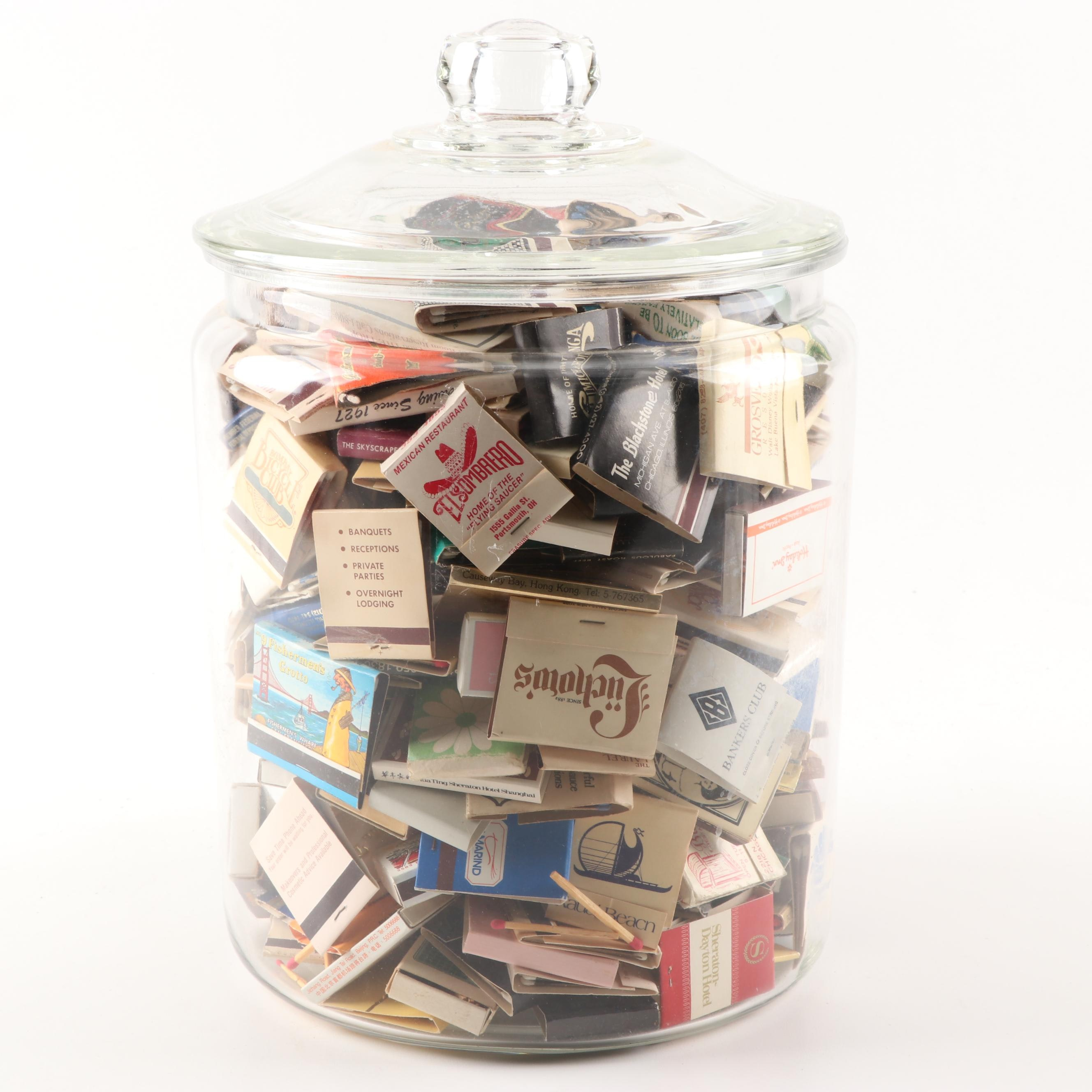 Matchbooks and Boxes in Glass Jar