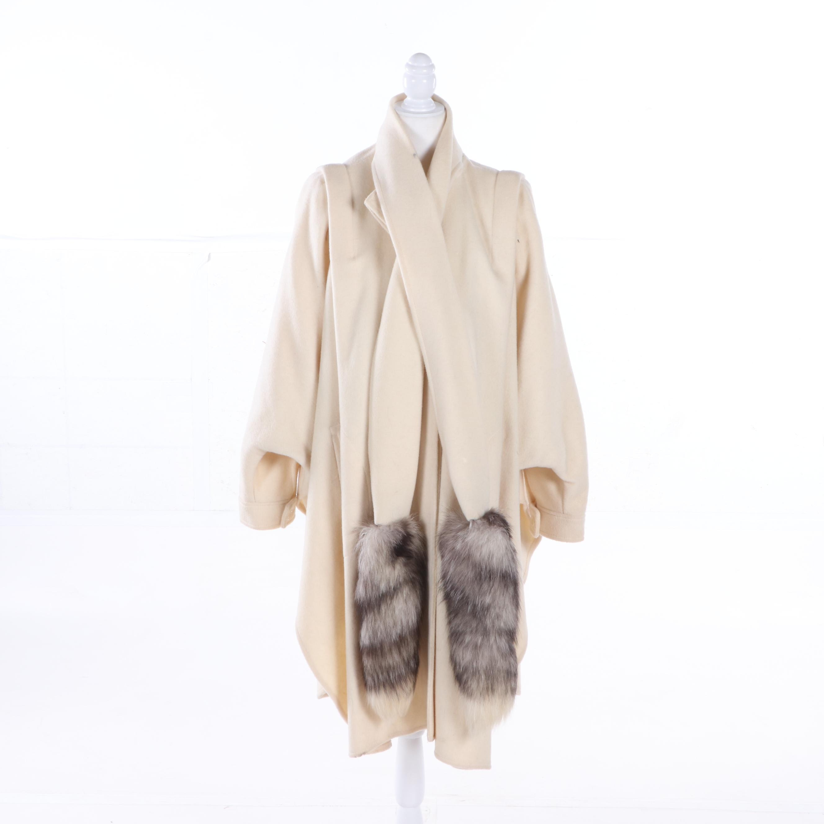 Women's Ashley Scott Ivory Wool Poncho with Fox Fur Ties