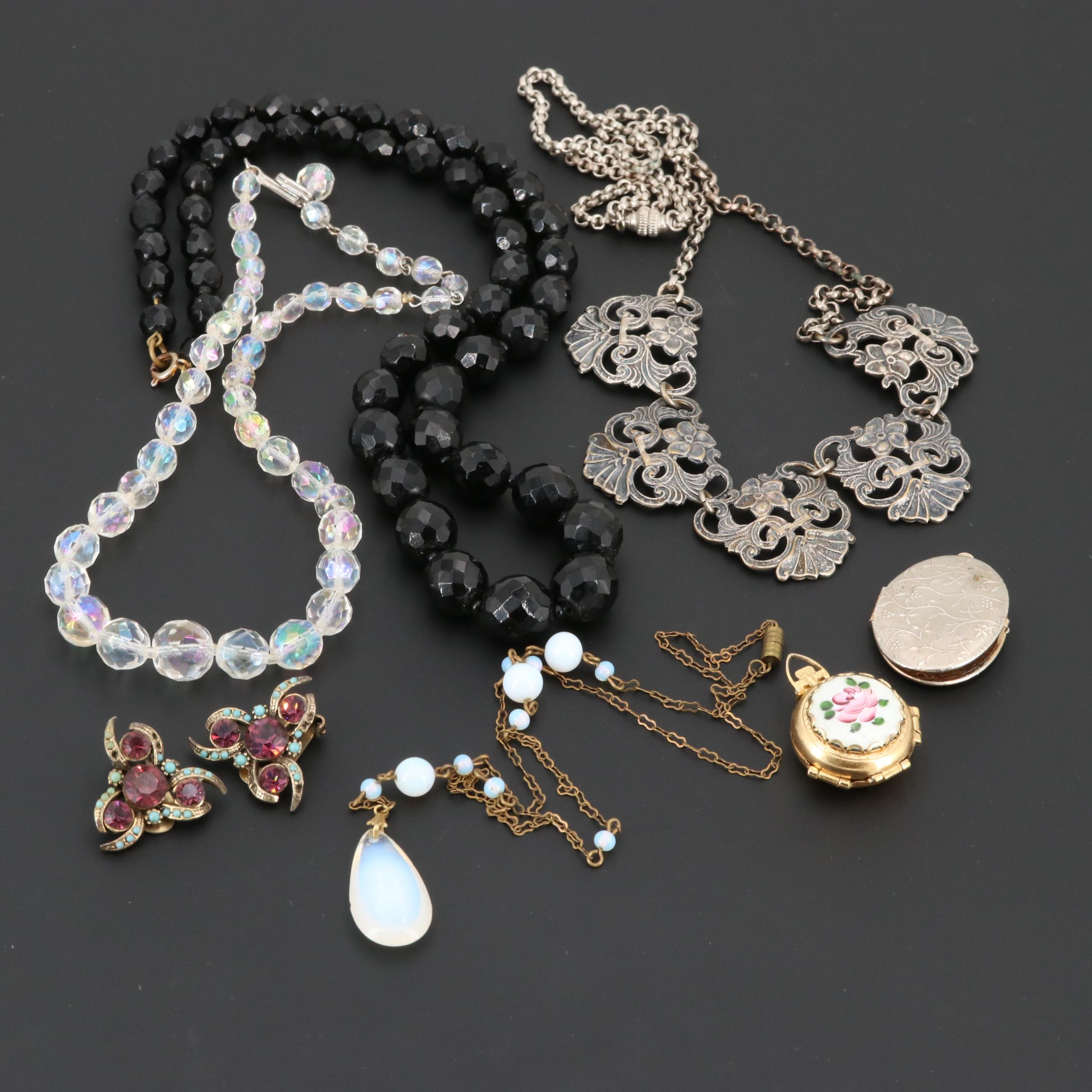 Assorted Vintage Glass and Enamel Jewelry