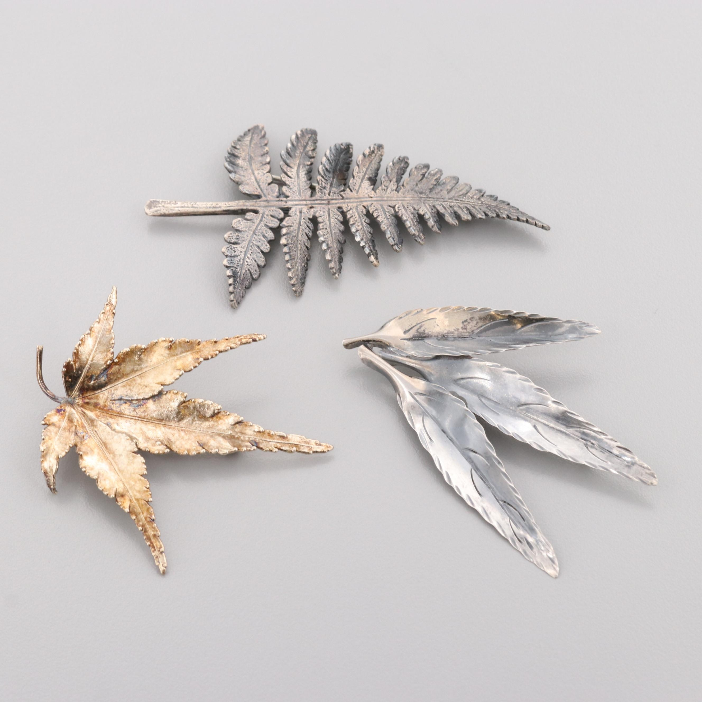 Vintage Sterling Silver Foliate Brooches Featuring Flora Danica and Stuart Nye