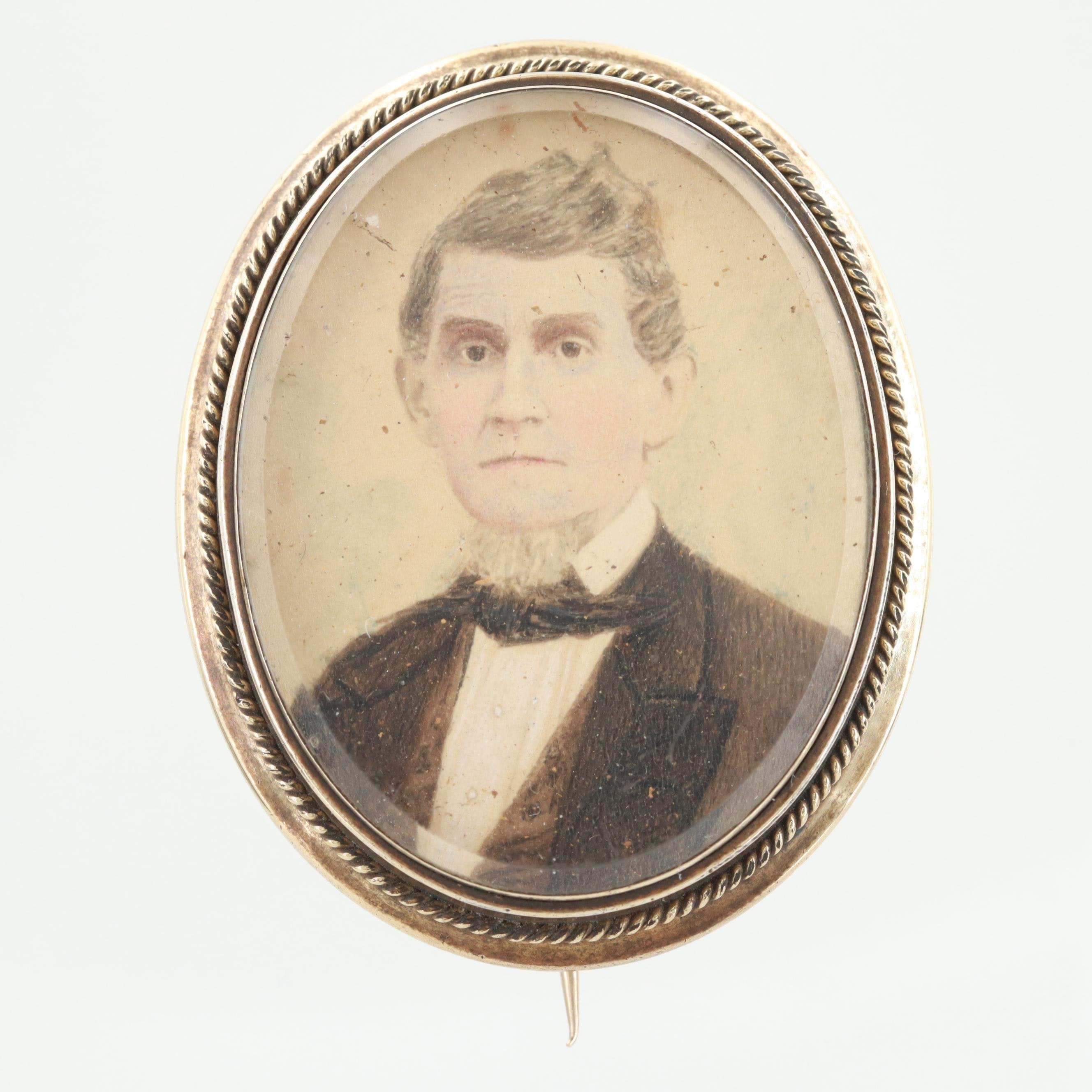 Victorian Gold-Toned Celluloid Portrait Painted Brooch