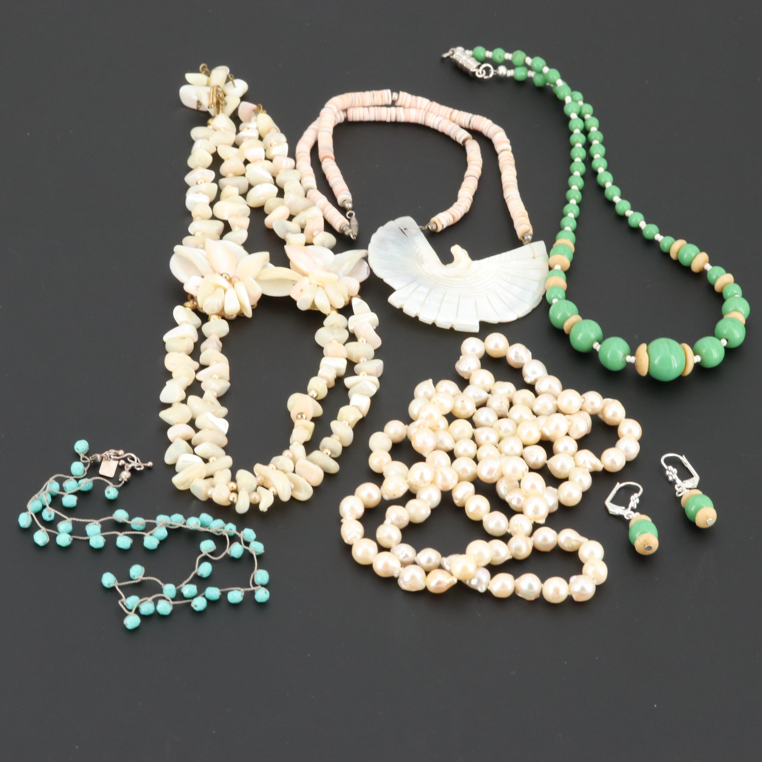 cultured Pearl, Mother of Pearl and Glass Necklace and Earring Assortment