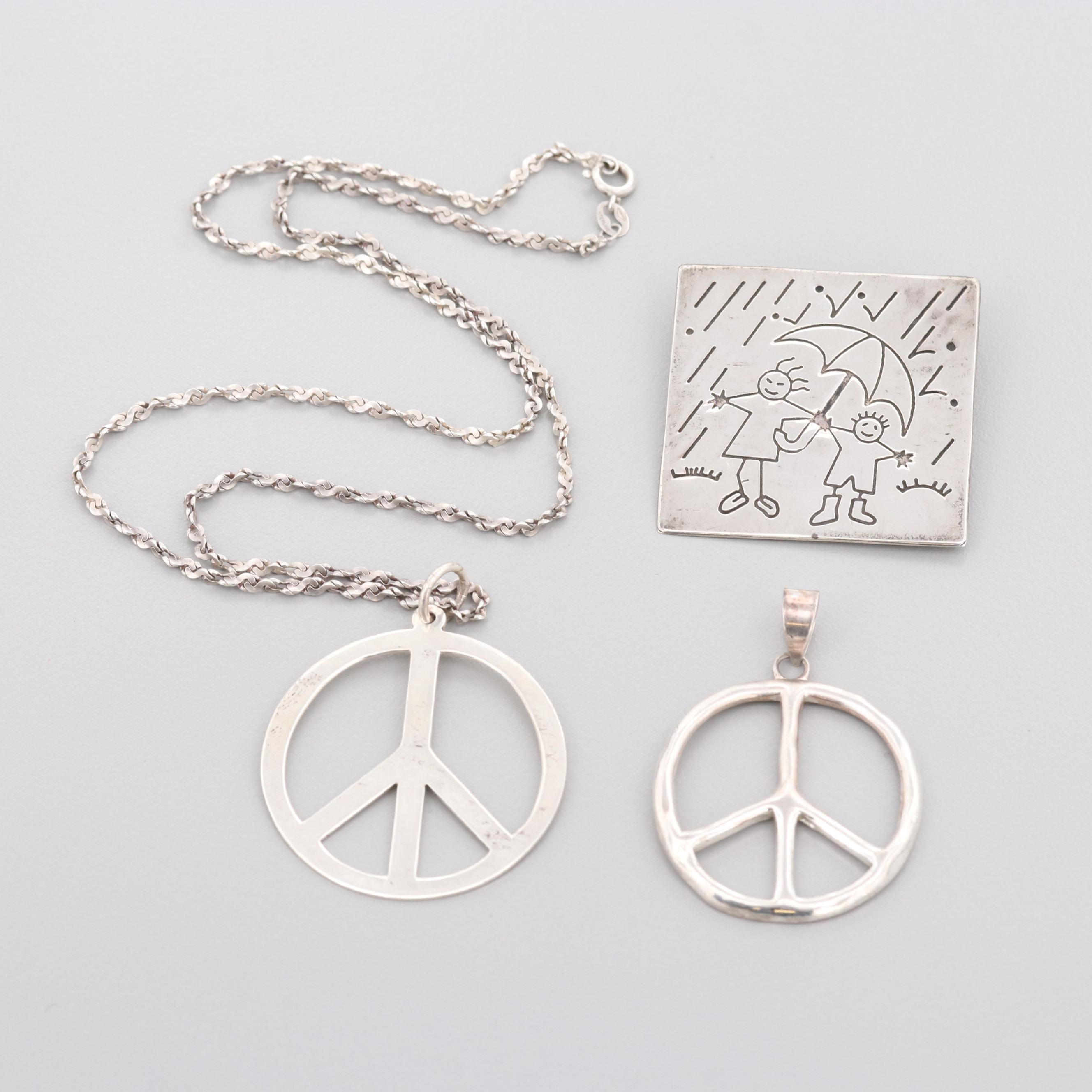 Vintage Style Sterling Silver Peace Pendant and Necklace with Rain Themed Brooch