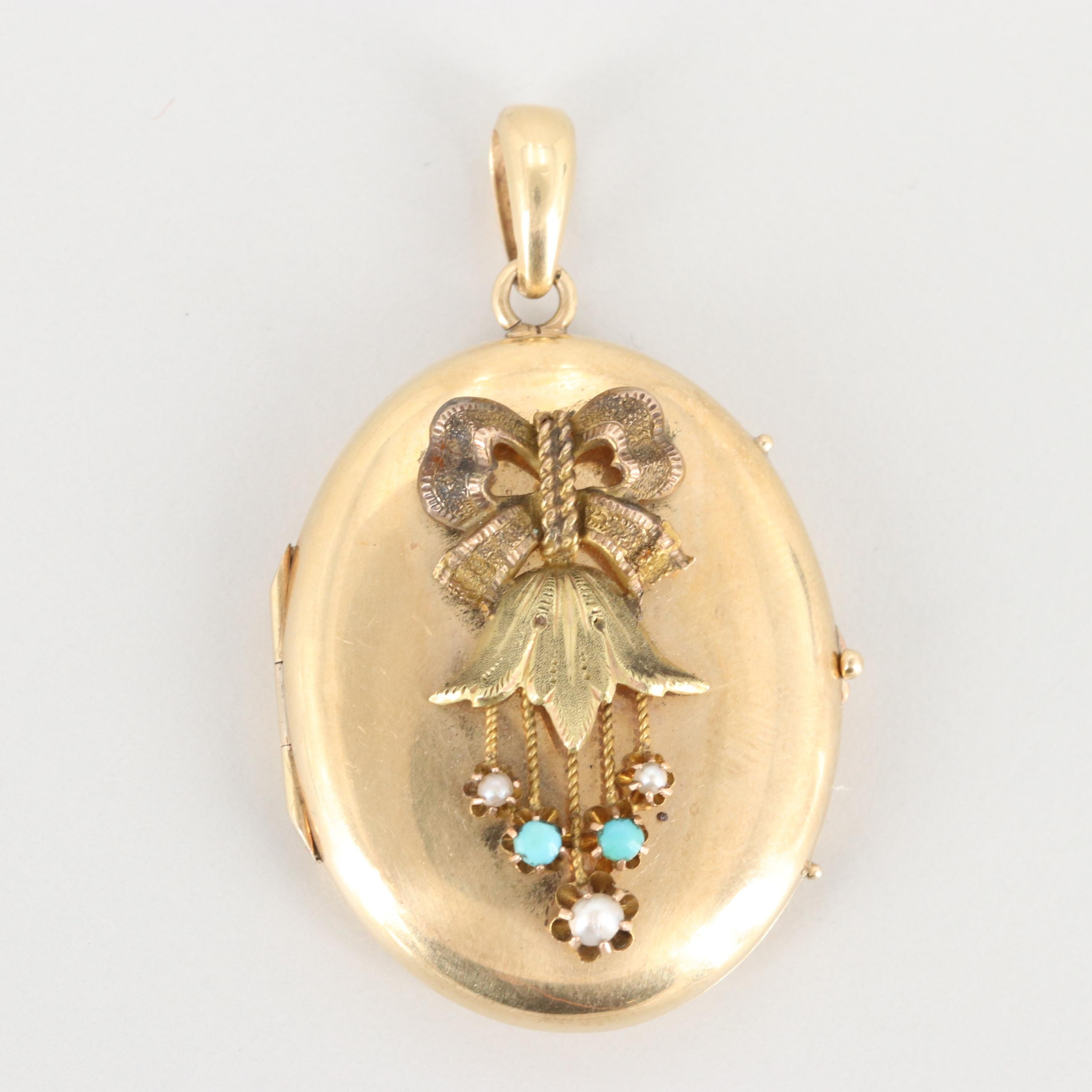Victorian Gold Wash Seed Pearl and Turquoise Locket