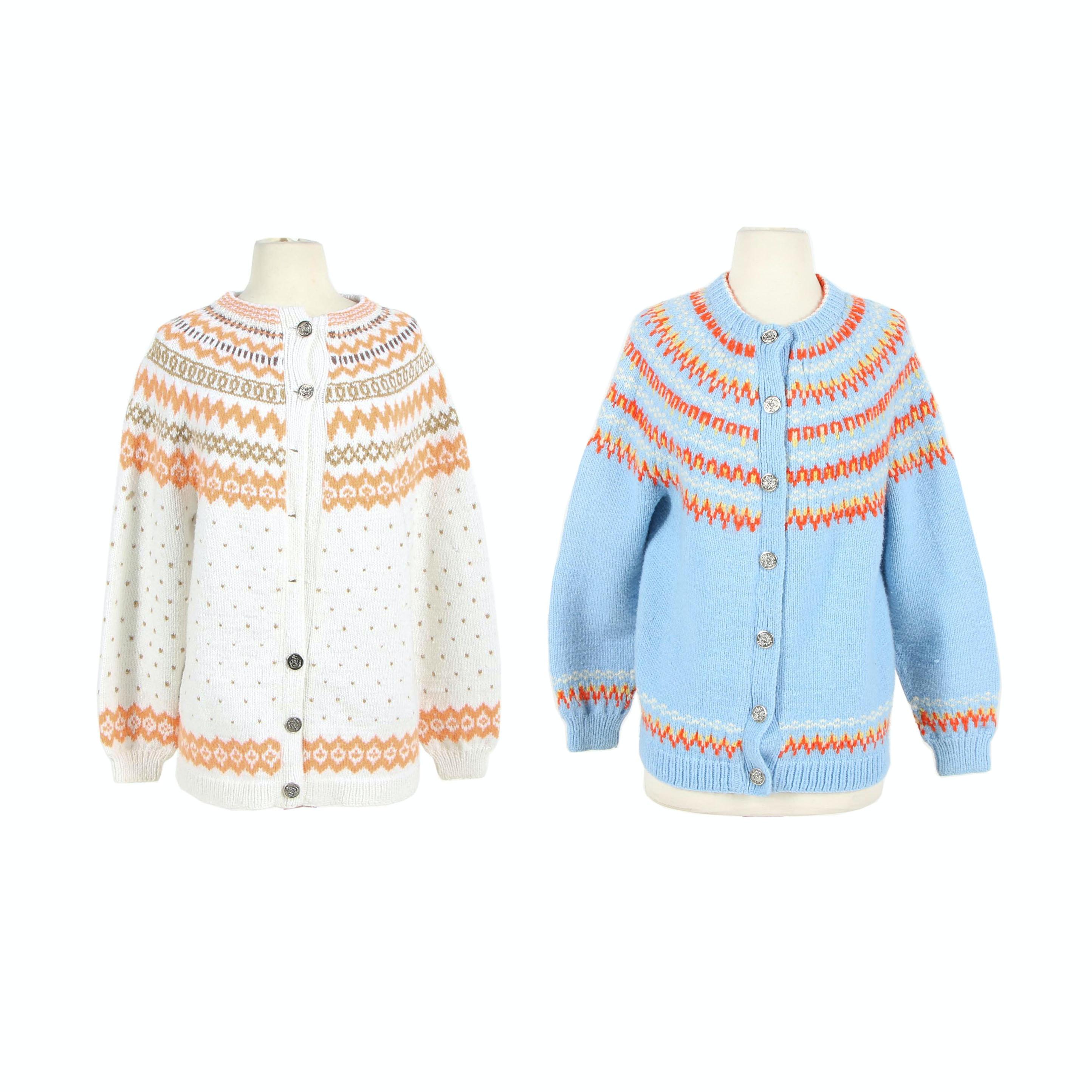 Women's Aase Haldborg Hand-Knitted Cardigan Sweaters, Vintage