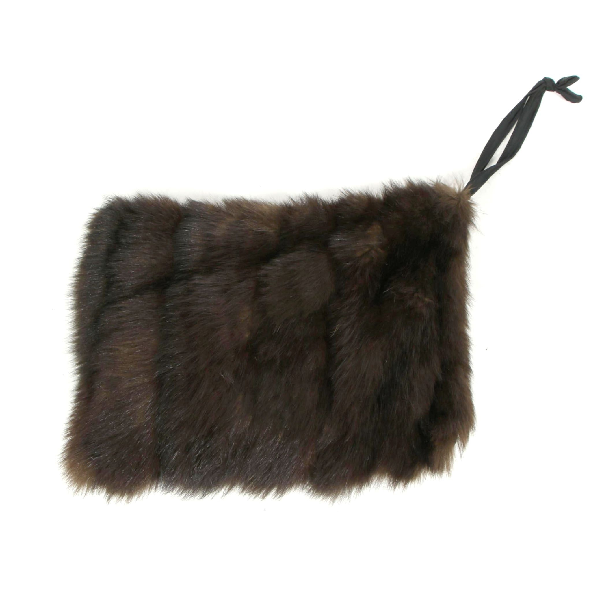 Women's Palm Civet Fur Combination Muff/Clutch
