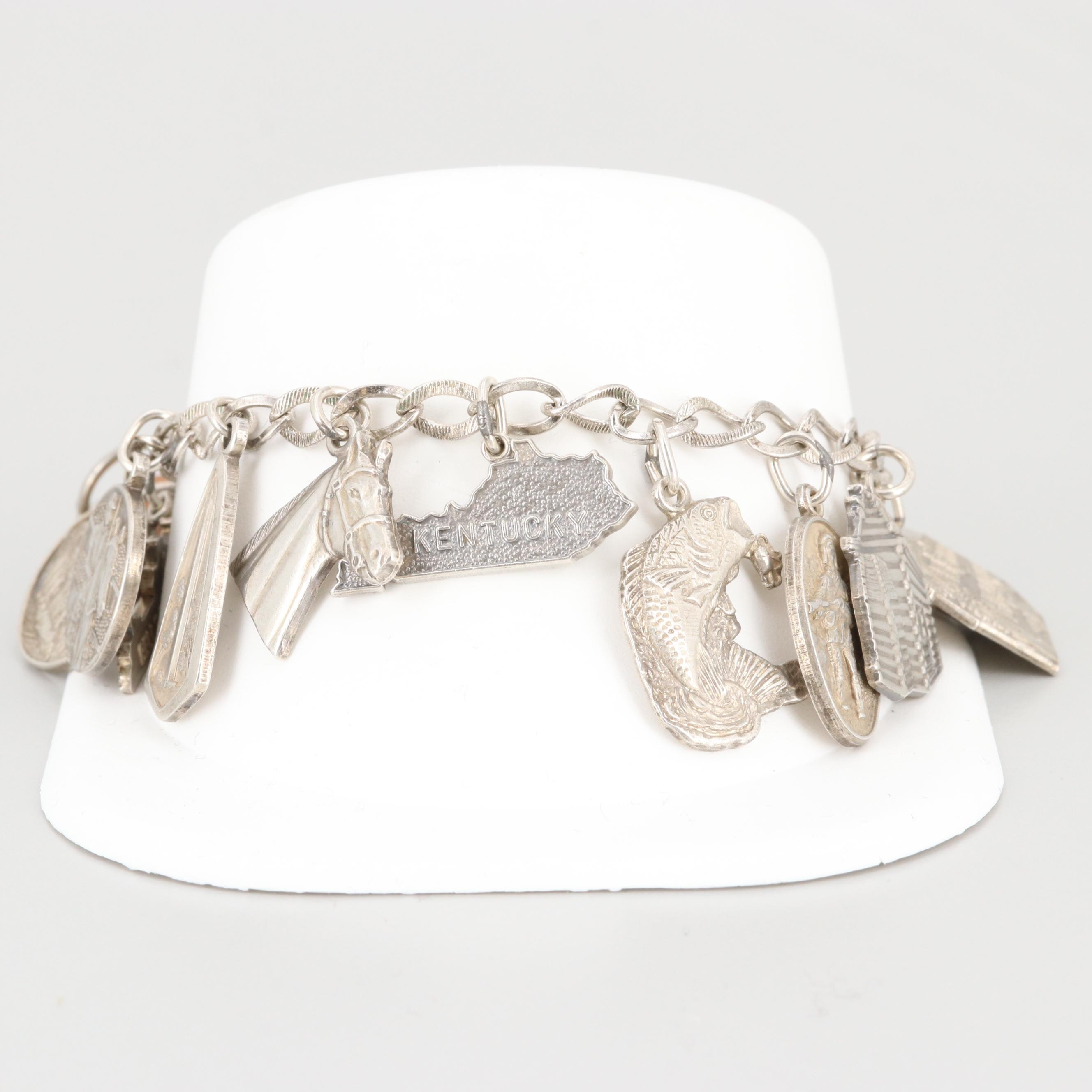 Vintage Sterling Silver Charm Bracelet with Calcite and State Motifs