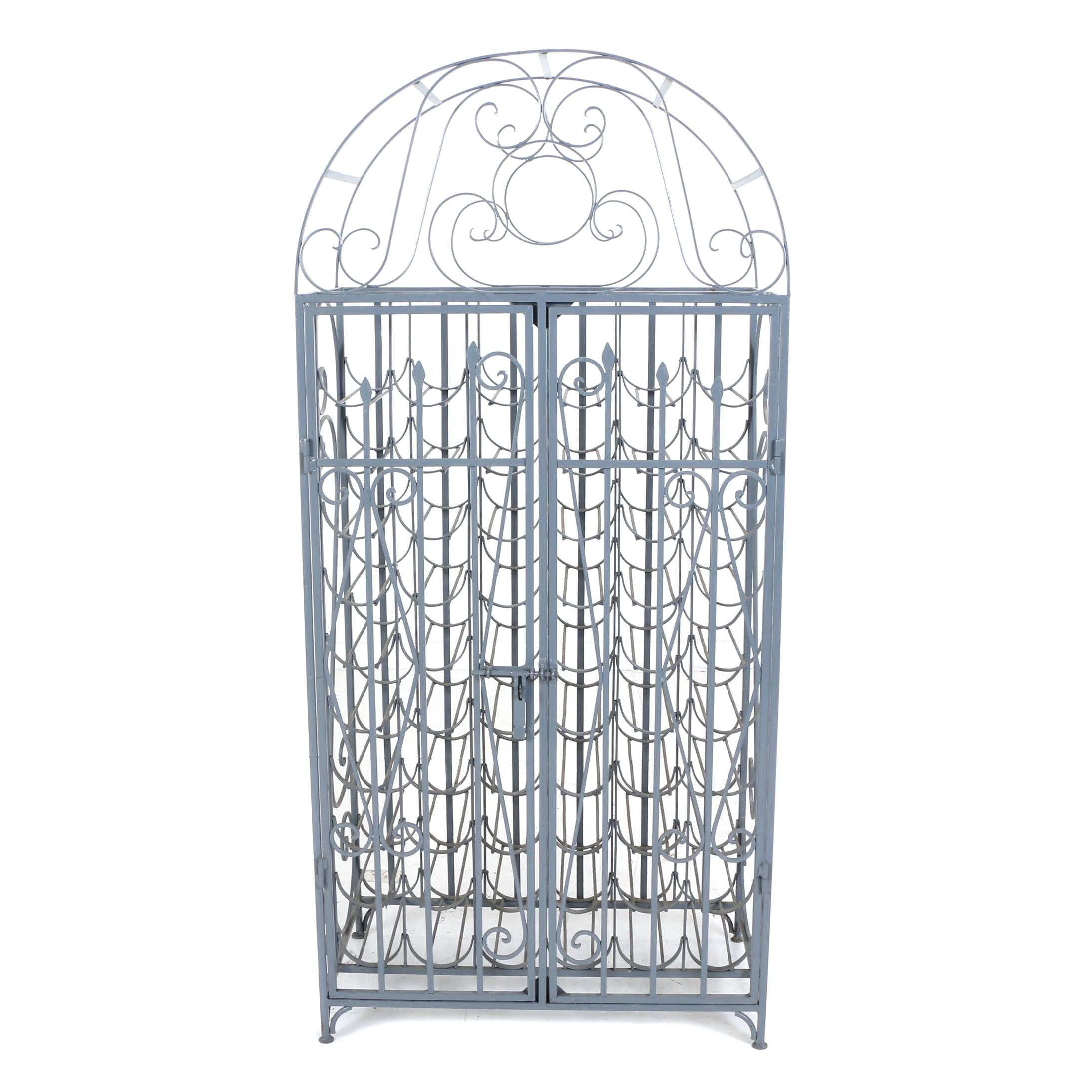 Grey-Painted and Scrolled-Metal Wine Cage, Late 20th Century