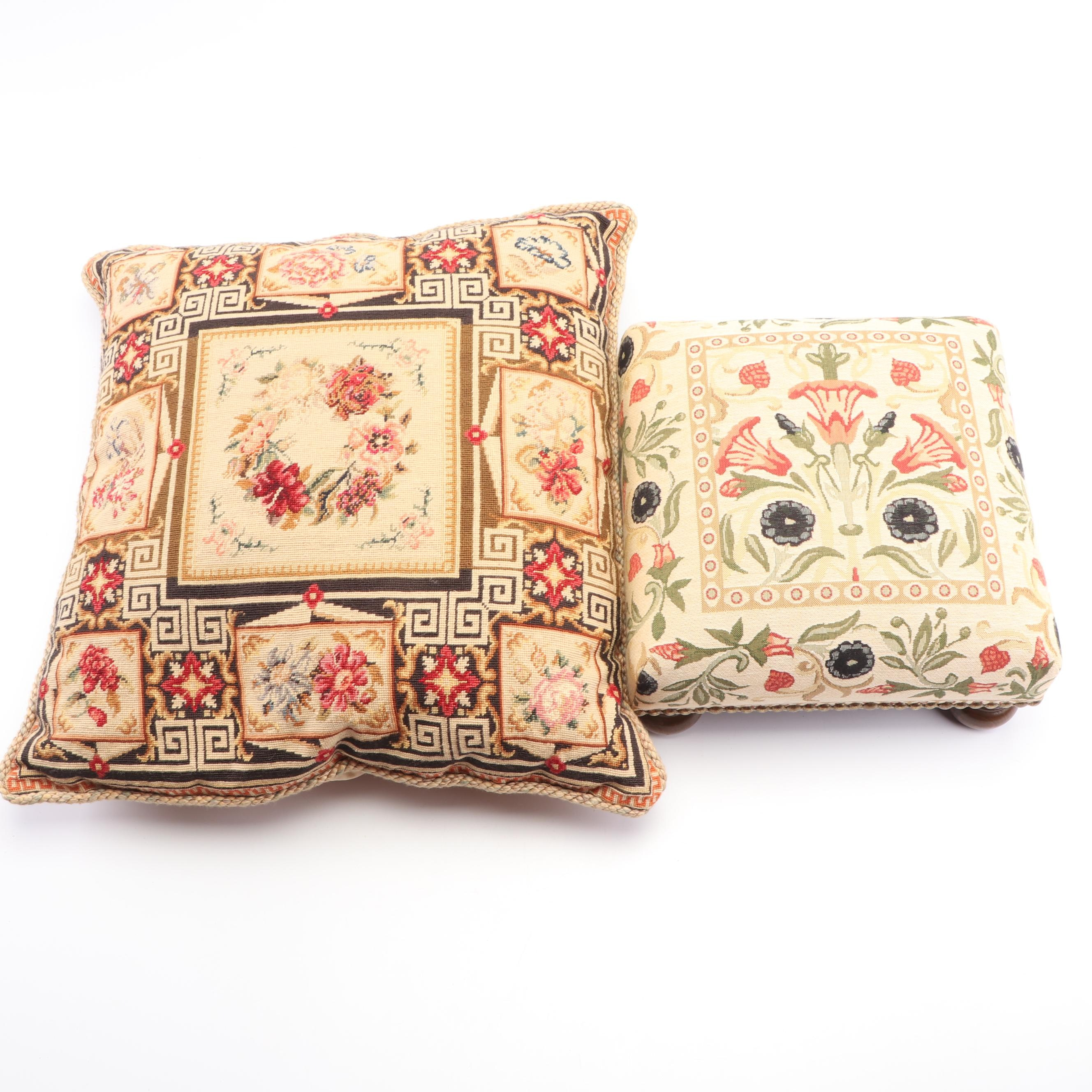 "Scully & Scully ""Primrose Cream"" Tapestry Footstool with Needlepoint Pillow"