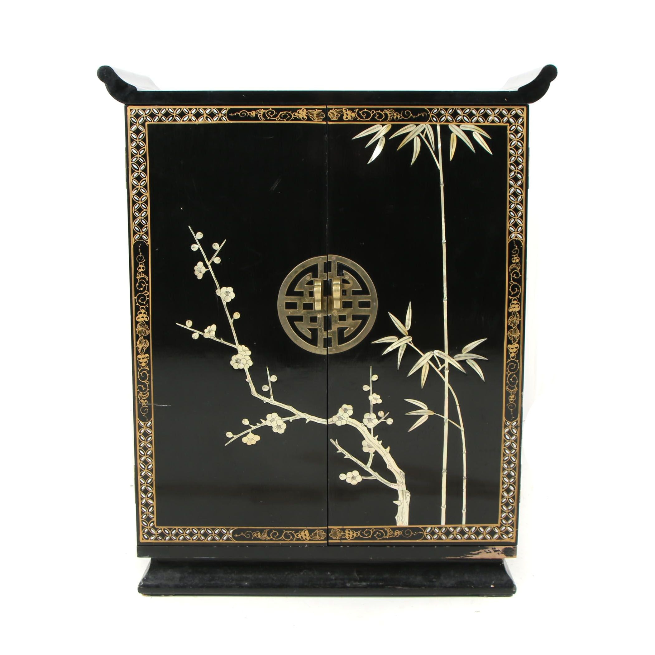 Chinese Black Lacquer Buffet Cabinet
