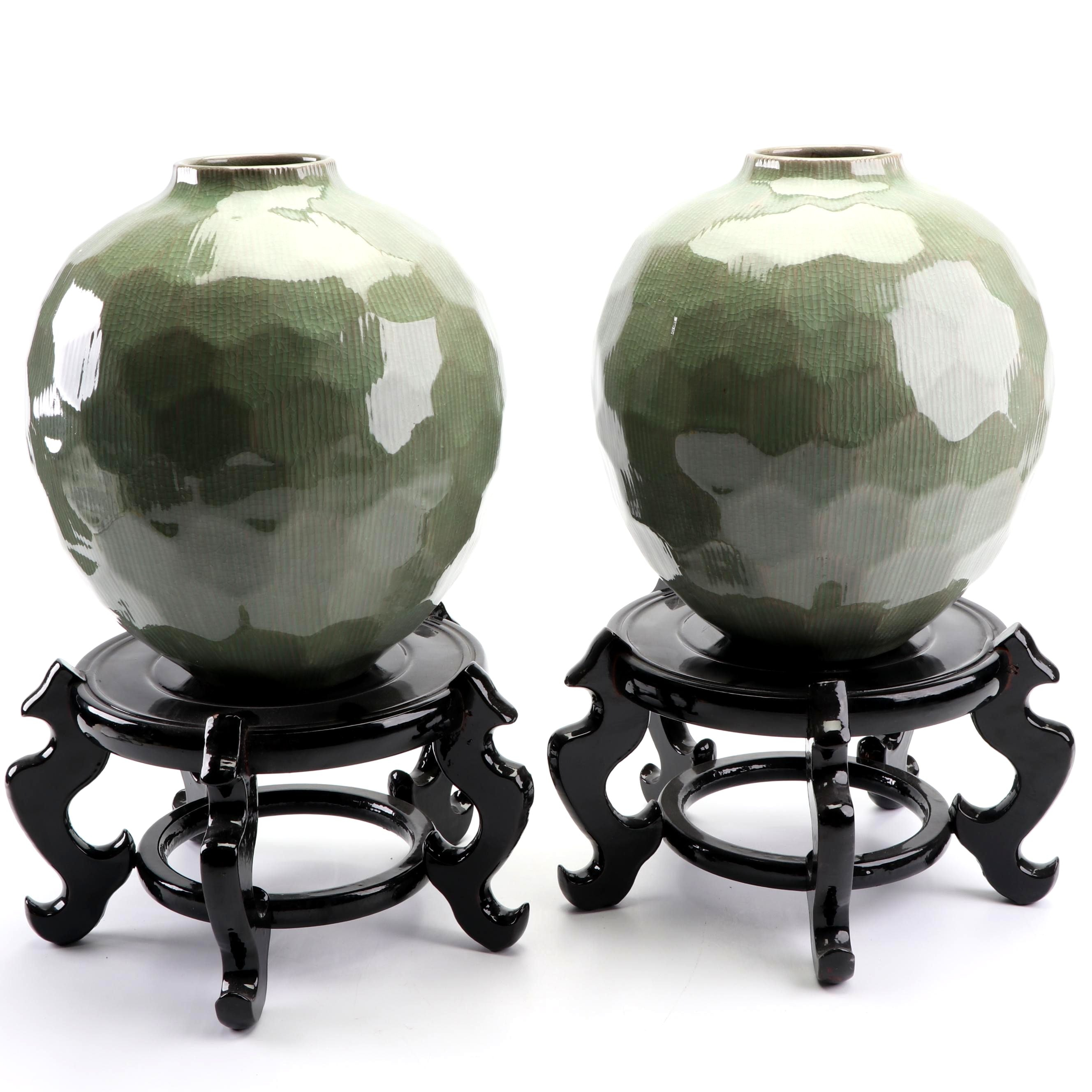 Pair of Green Ceramic Planters with Chinese Lacquered Wooden Stands