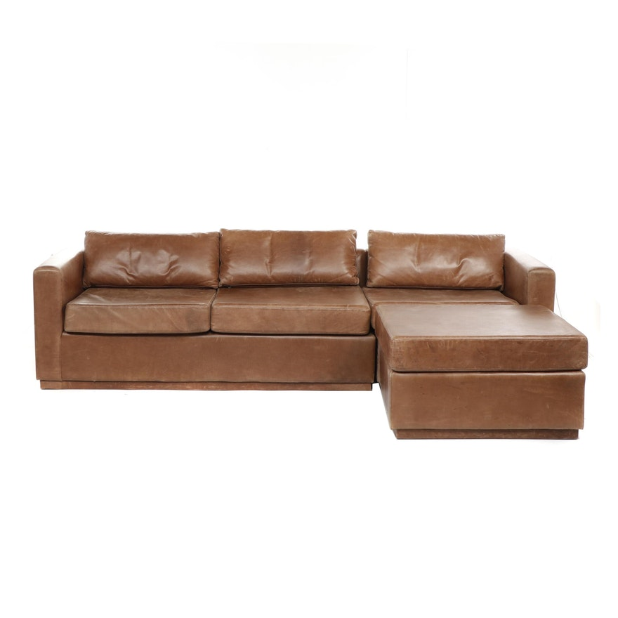 Modern Style Brown Leather Sectional Sofa with Ottoman, Late 20th Century