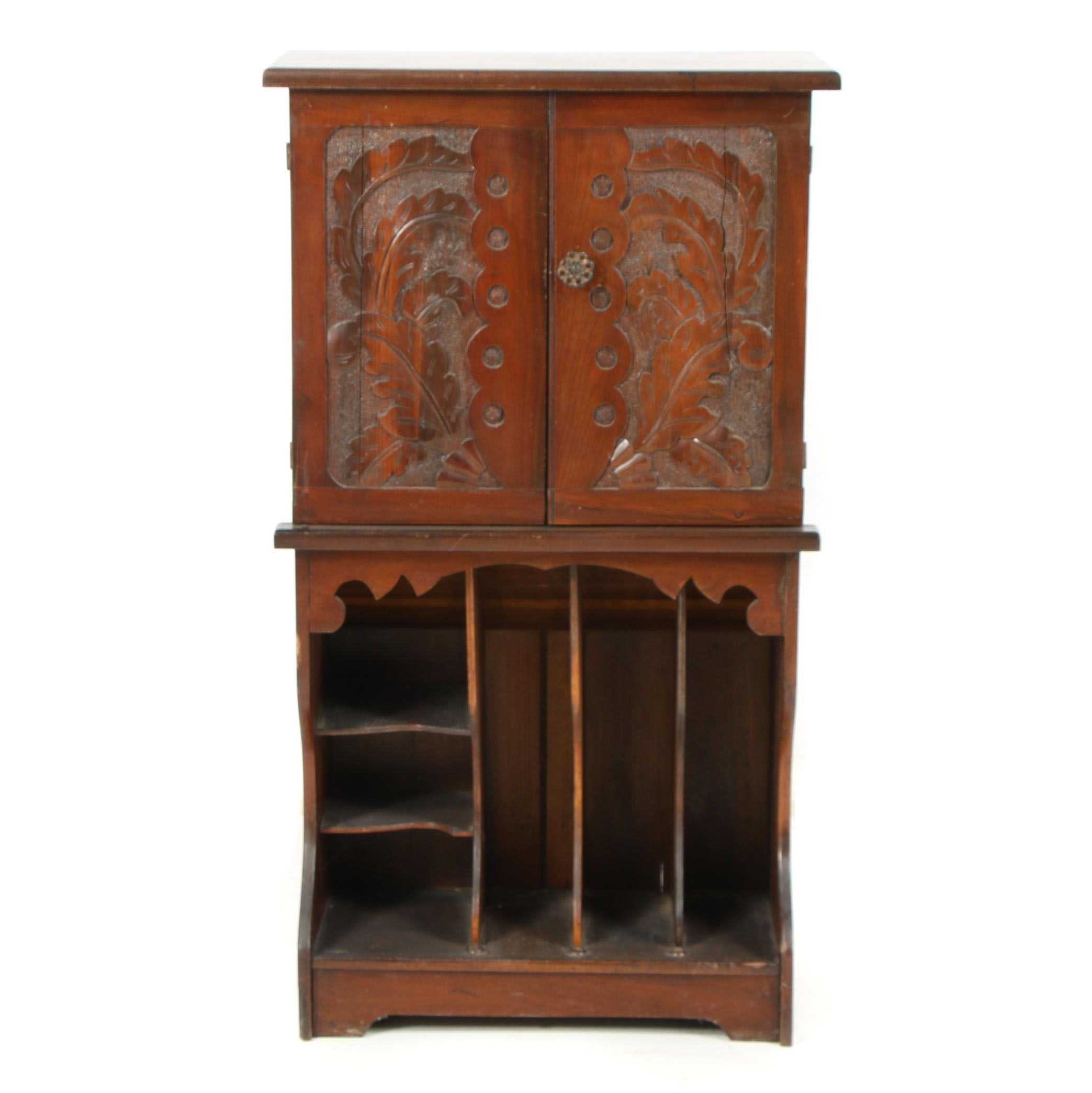 Carved Walnut Sheet Music Storage Cabinet, Early 20th Century