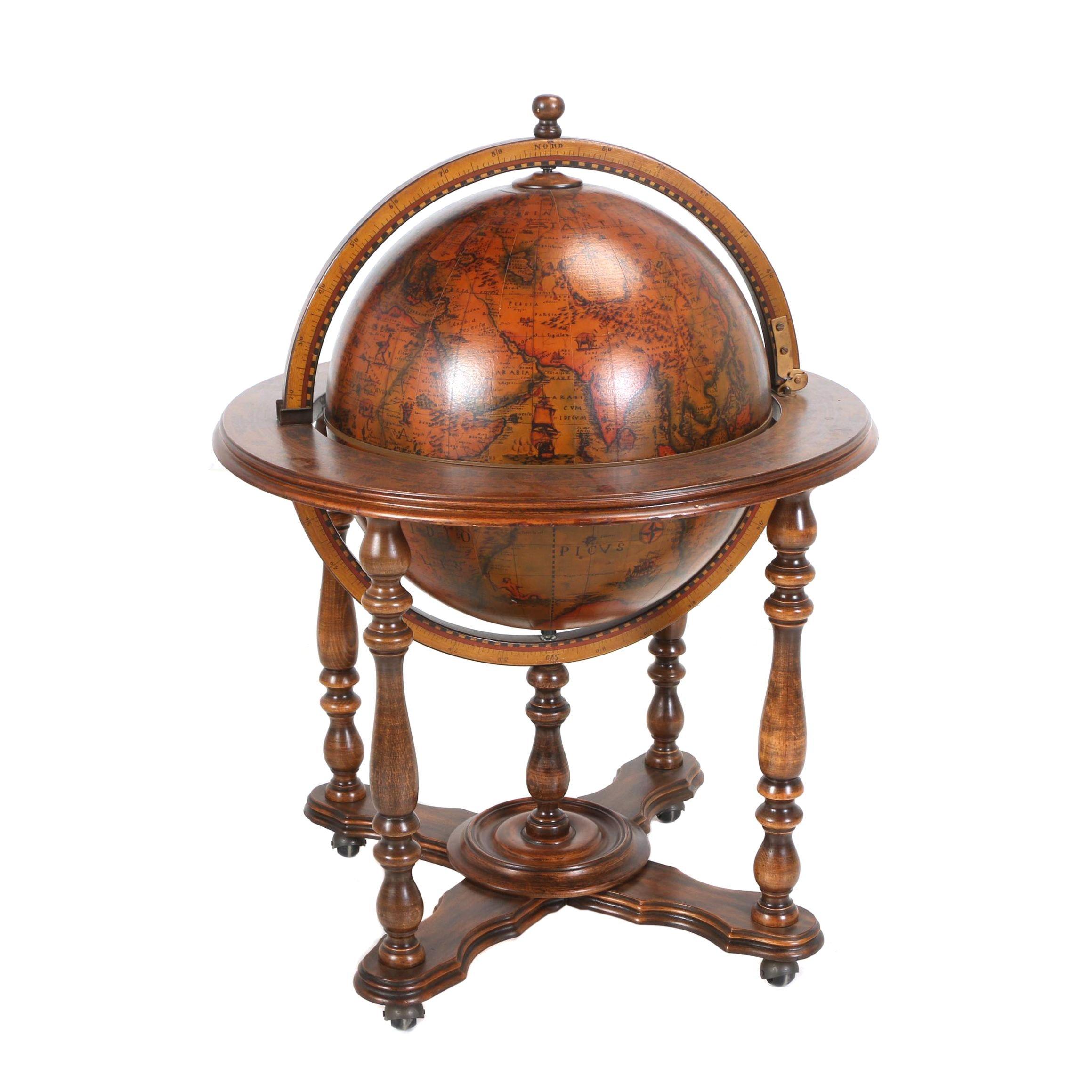Italian Flip-Top Bar Globe-on-Stand, Late 20th Century