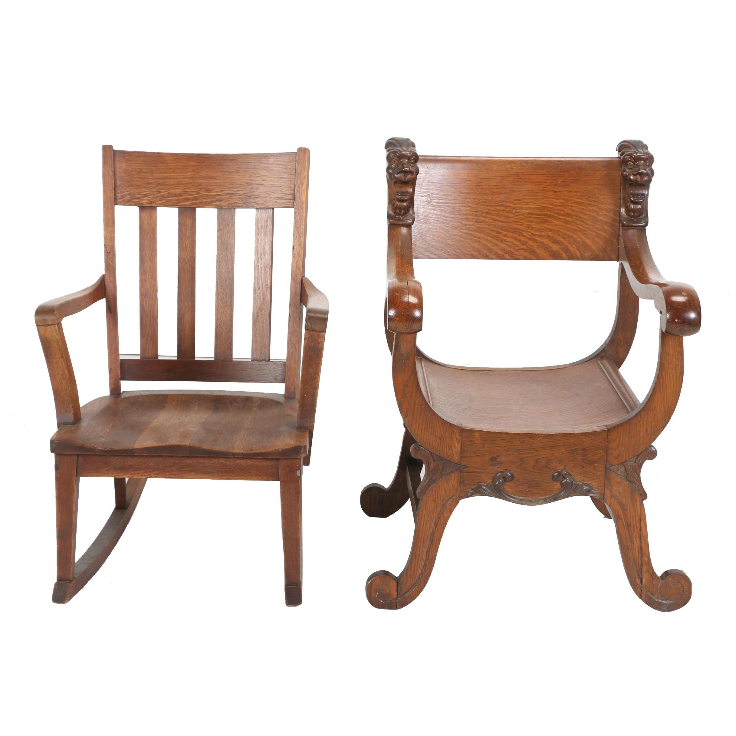 Two American Oak Armchairs, Early 20th Century