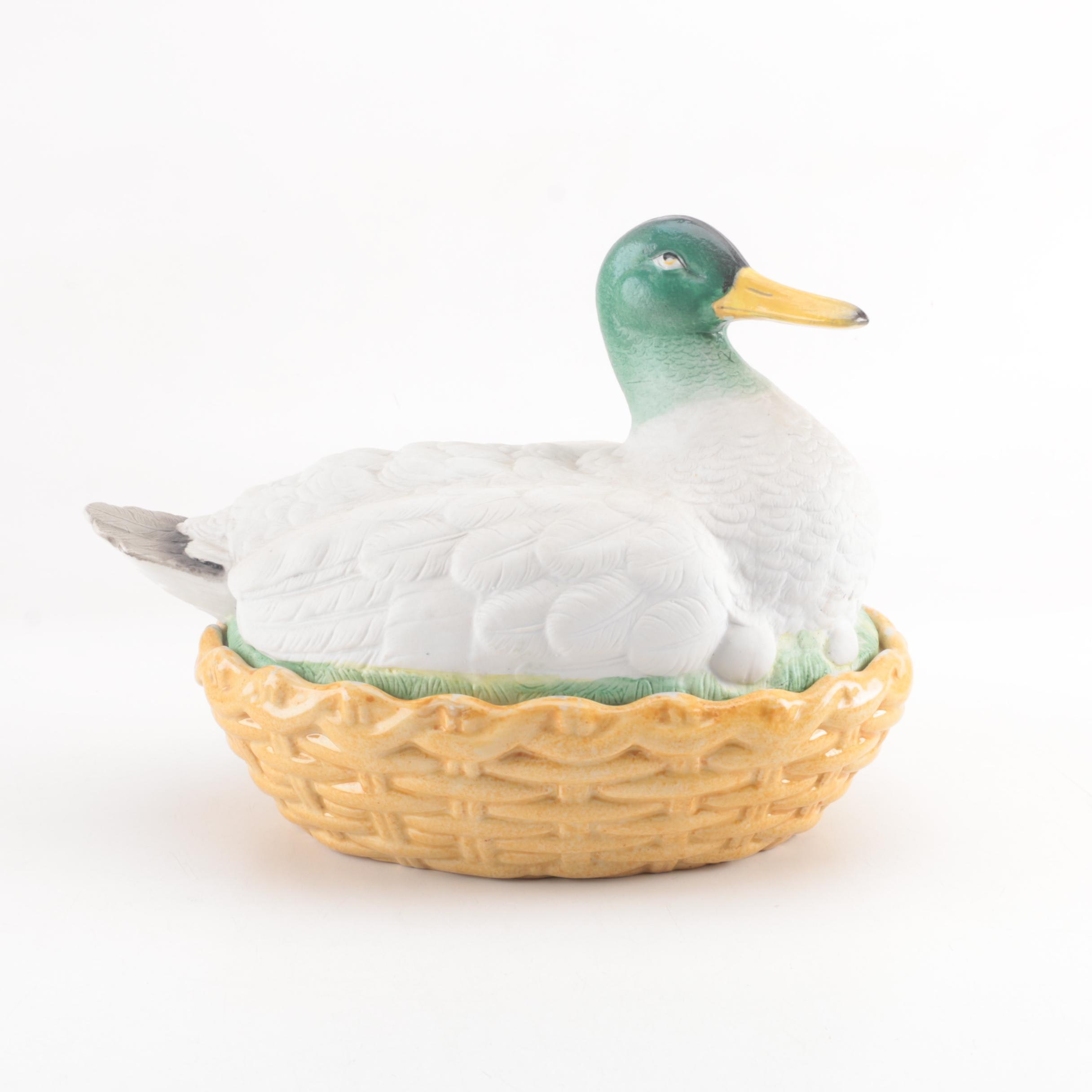 English Parian Duck on Nest Covered Dish, Late Victorian