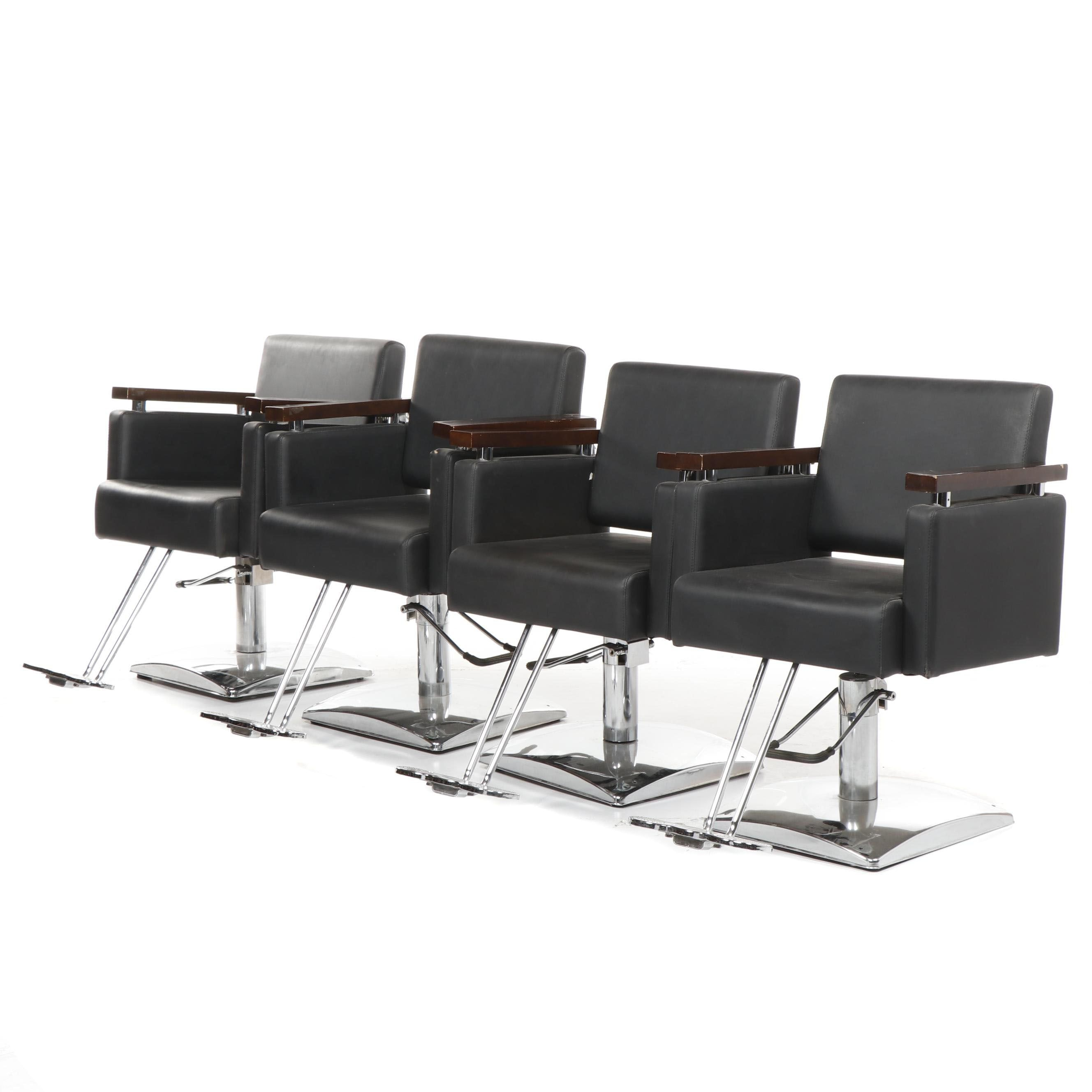 Modern Style Faux Leather and Metal Adjustable Barber's Chairs, 21st Century