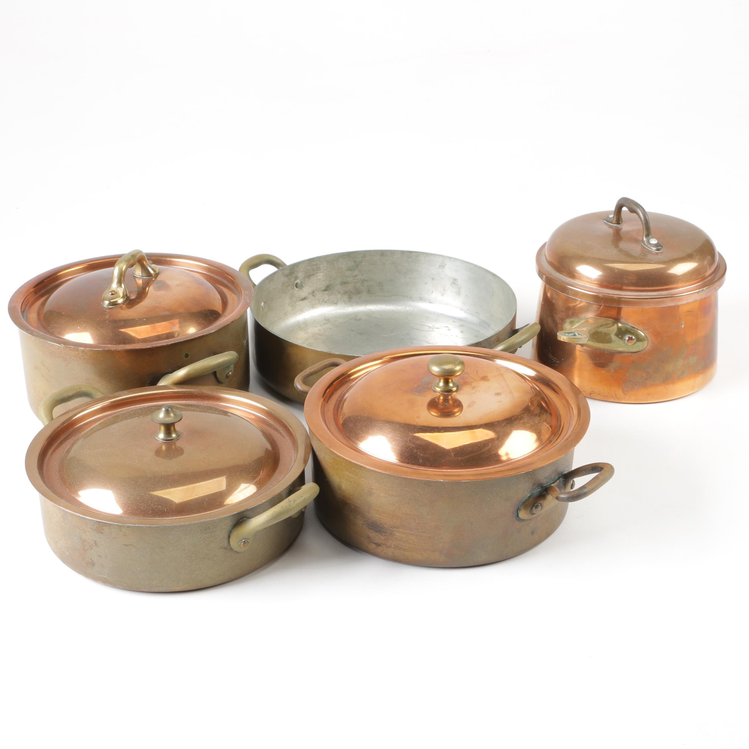 Waldow and French Made Copper Casseroles with Sauce Pot and Lids