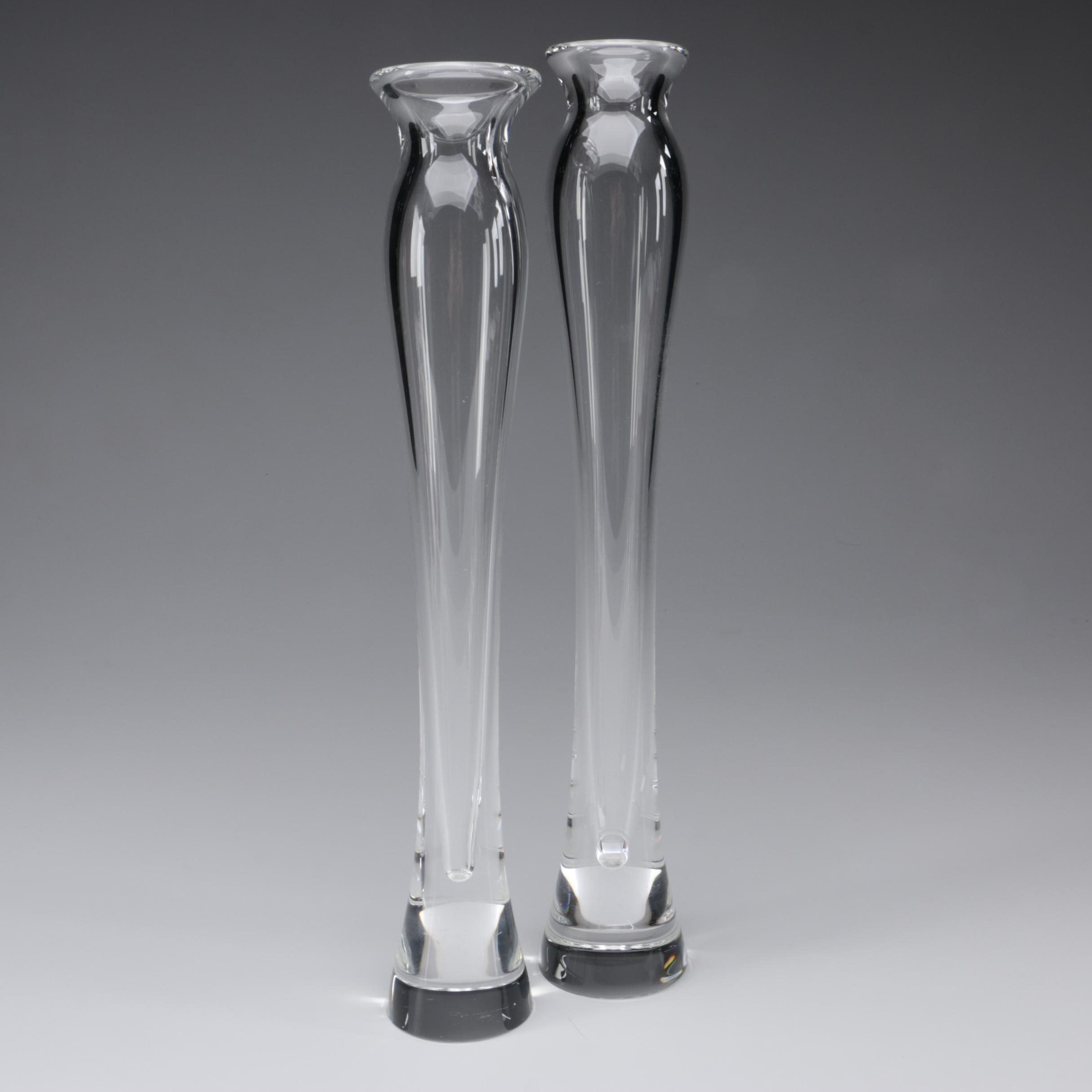 Steuben Art Glass Elongated Bud Vases, Mid-Century