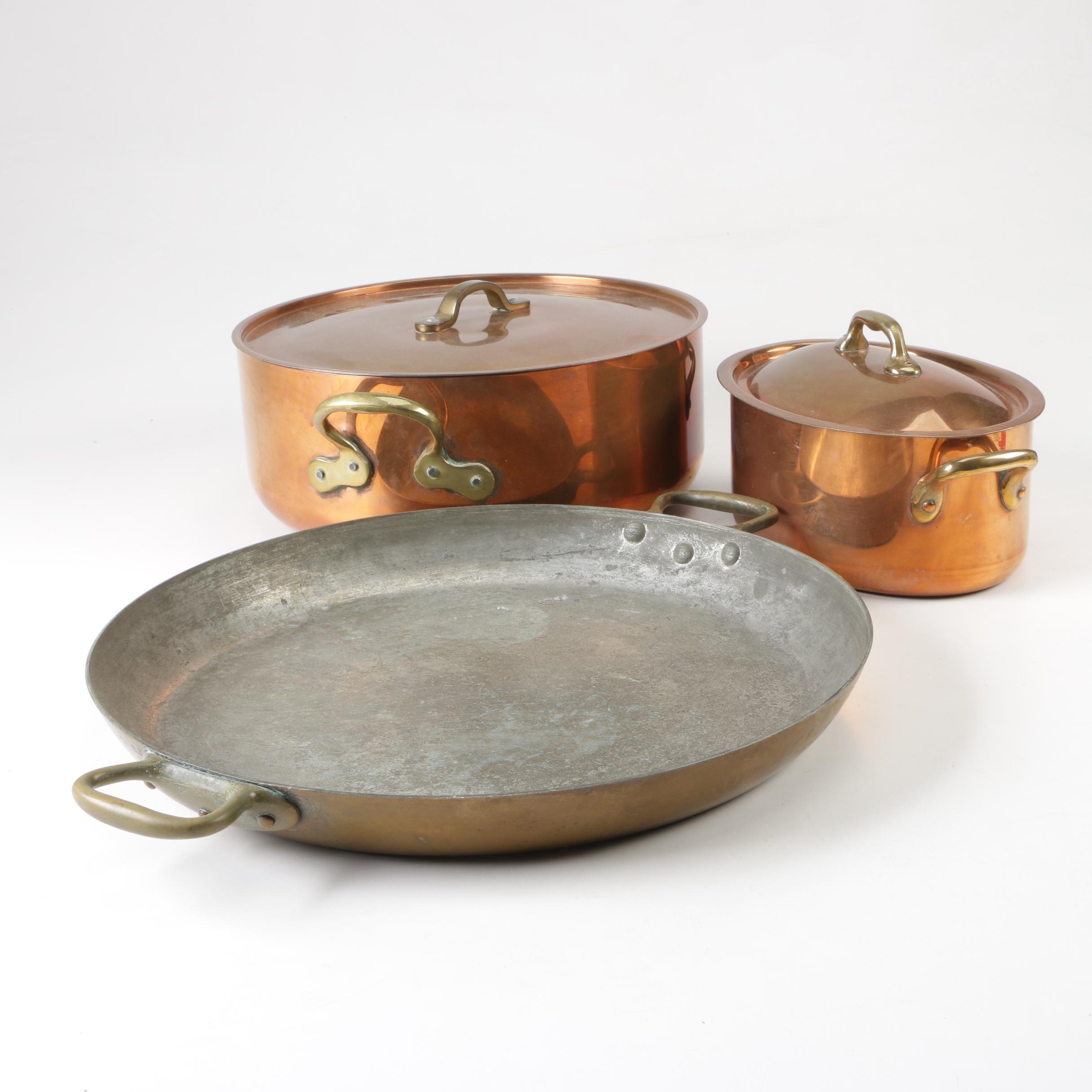 Copper Double Handled Casserole Pots and Au Gratin Pan
